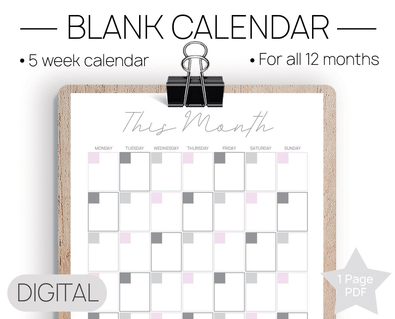 Printable Blank Calendar Blank Calendar Undated Calendar
