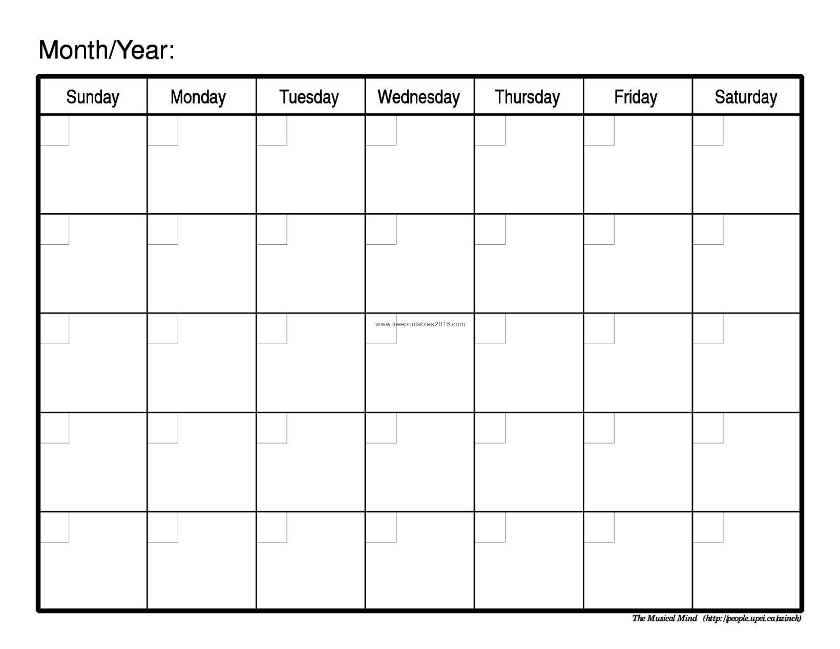 Printable Blank Calendar By Month