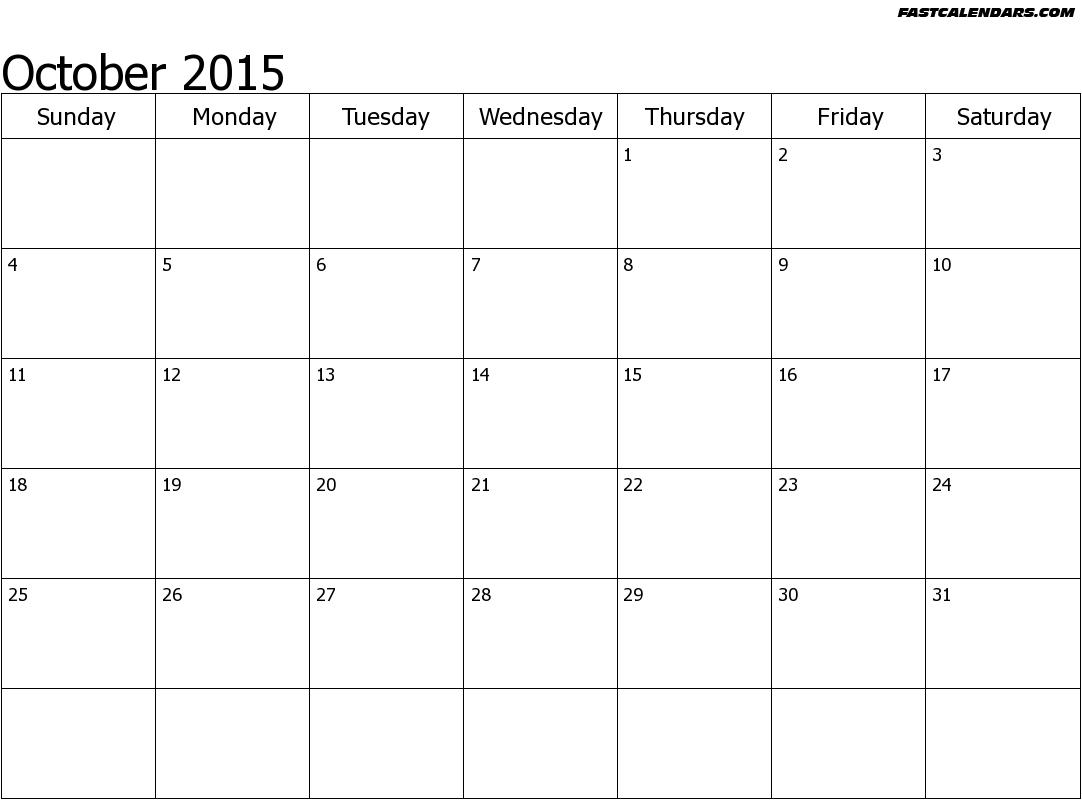 Printable Blank Calendar For 2015