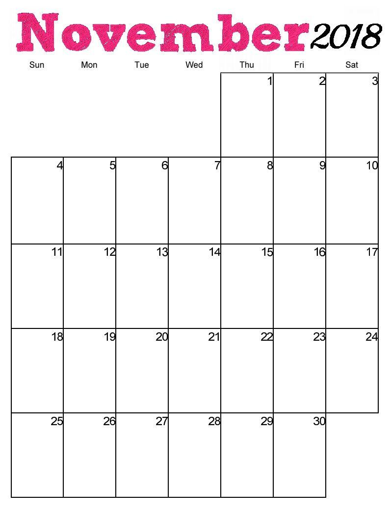 Printable Blank Calendar Vertical