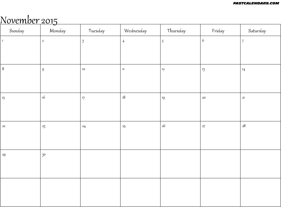 Printable Blank Calendar