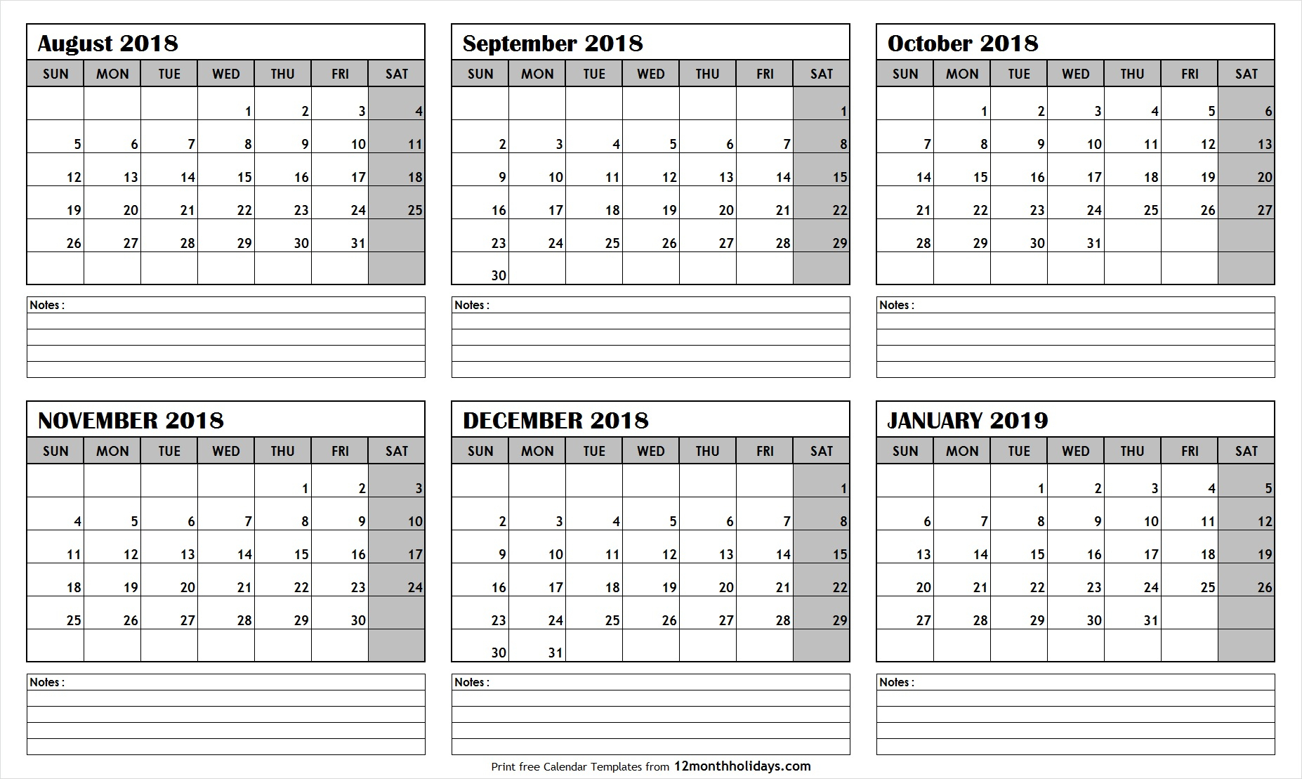 Printable Blank Six Month 6 Month Calendar August January 2019 Template