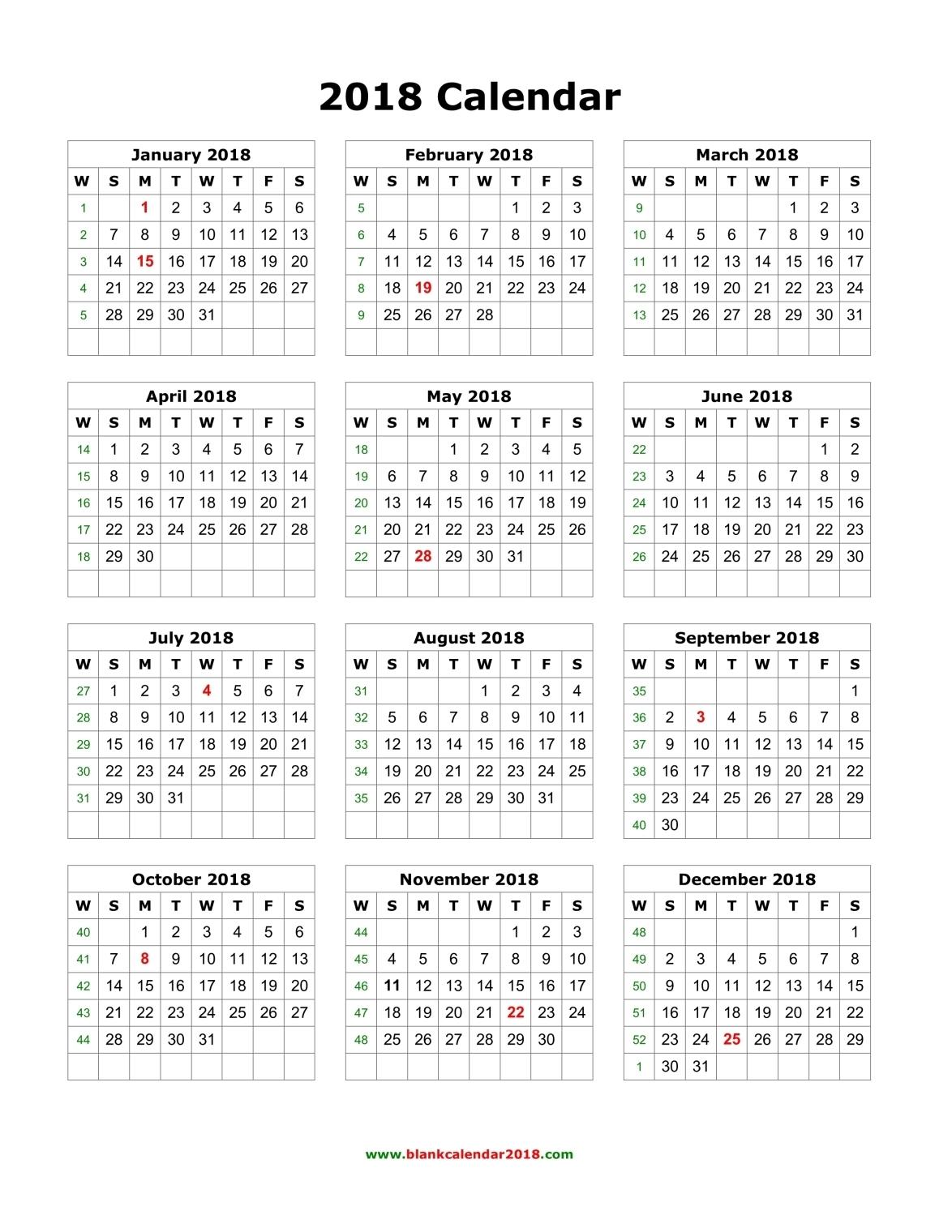 Printable Calendar 2018 Calendar Lab
