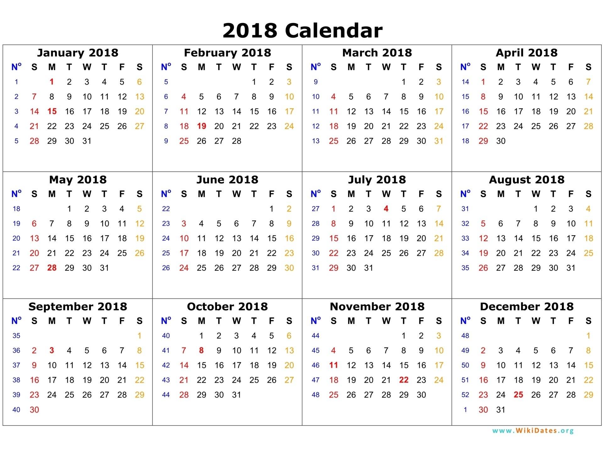 Printable Calendar 2018 - Free 2018 Blank Calendar Template Pdf