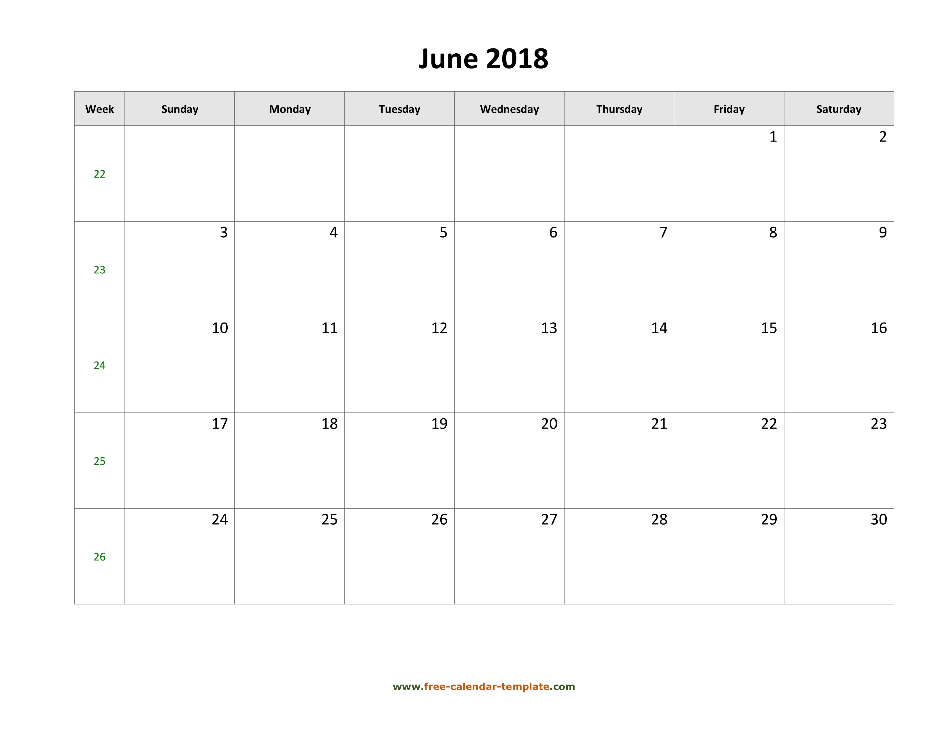 Printable Calendar 2018 With Large Boxes