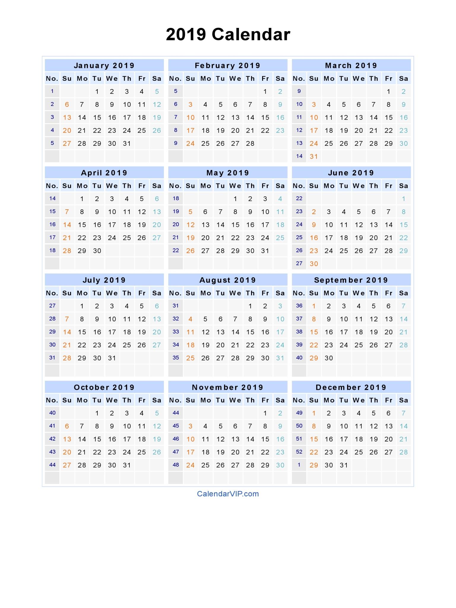 Printable Calendar 2019 Calendar Labs