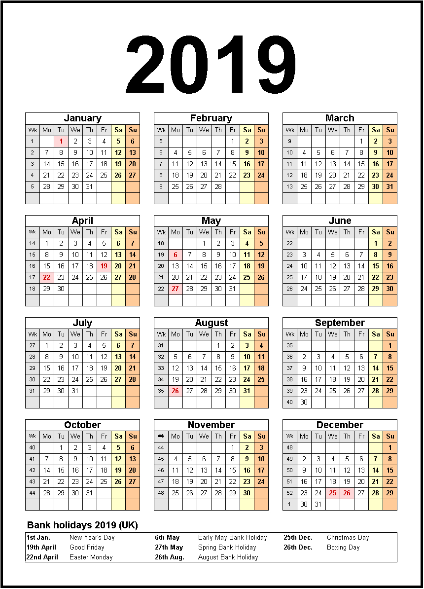Printable Calendar 2019 United States Holidays