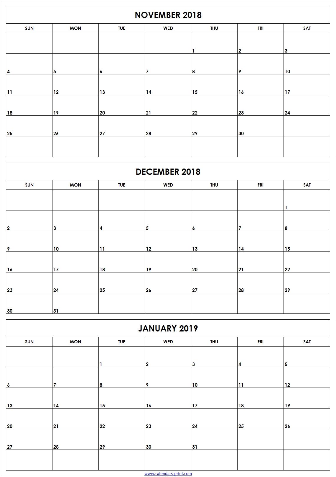 Printable Calendar 3 Month 2019 • Printable Blank Calendar Template
