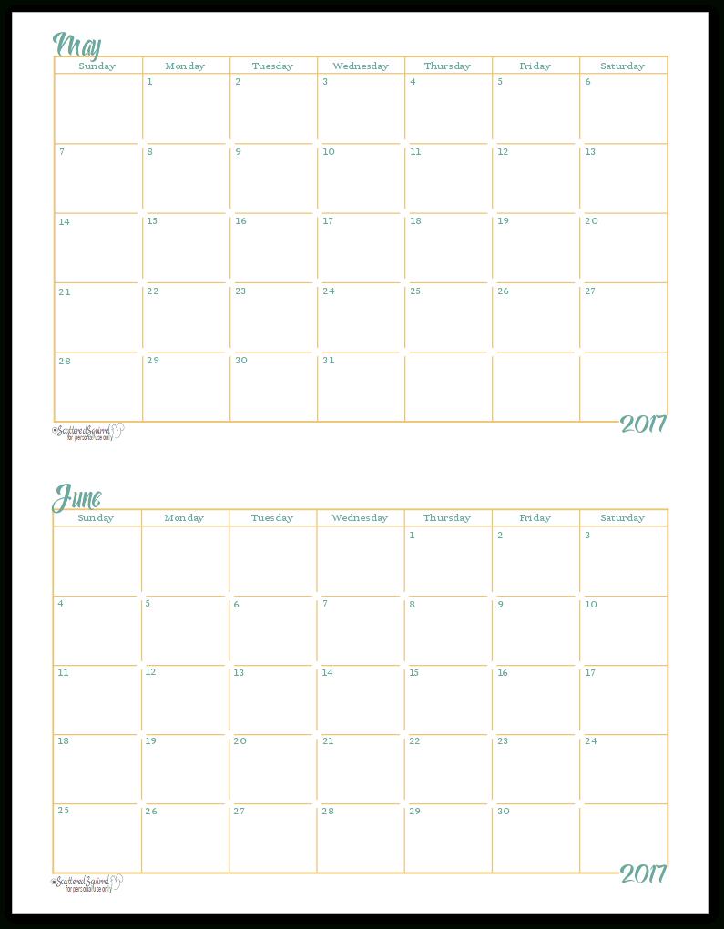 Printable Calendar 8 X 5