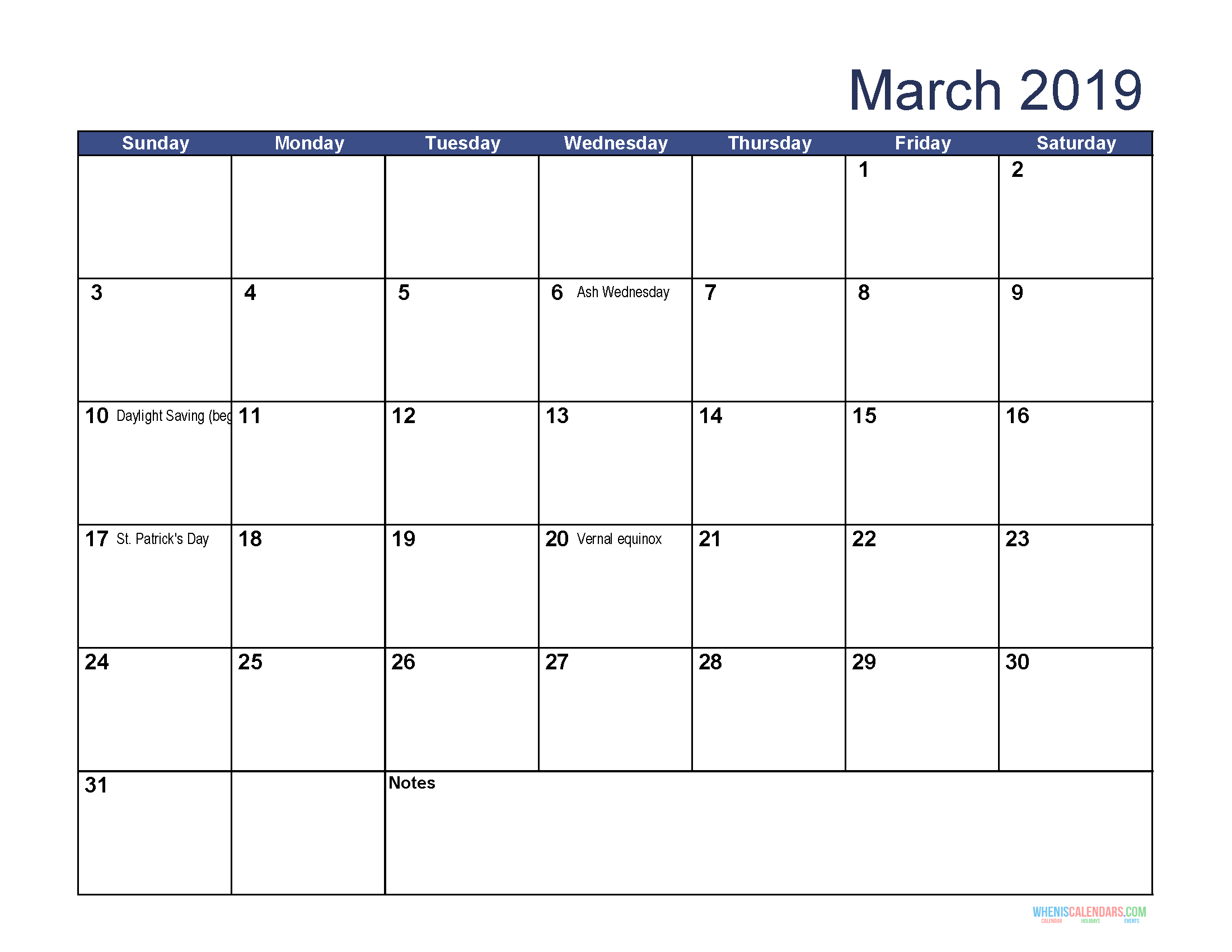 Printable Calendar For March 2019 Word