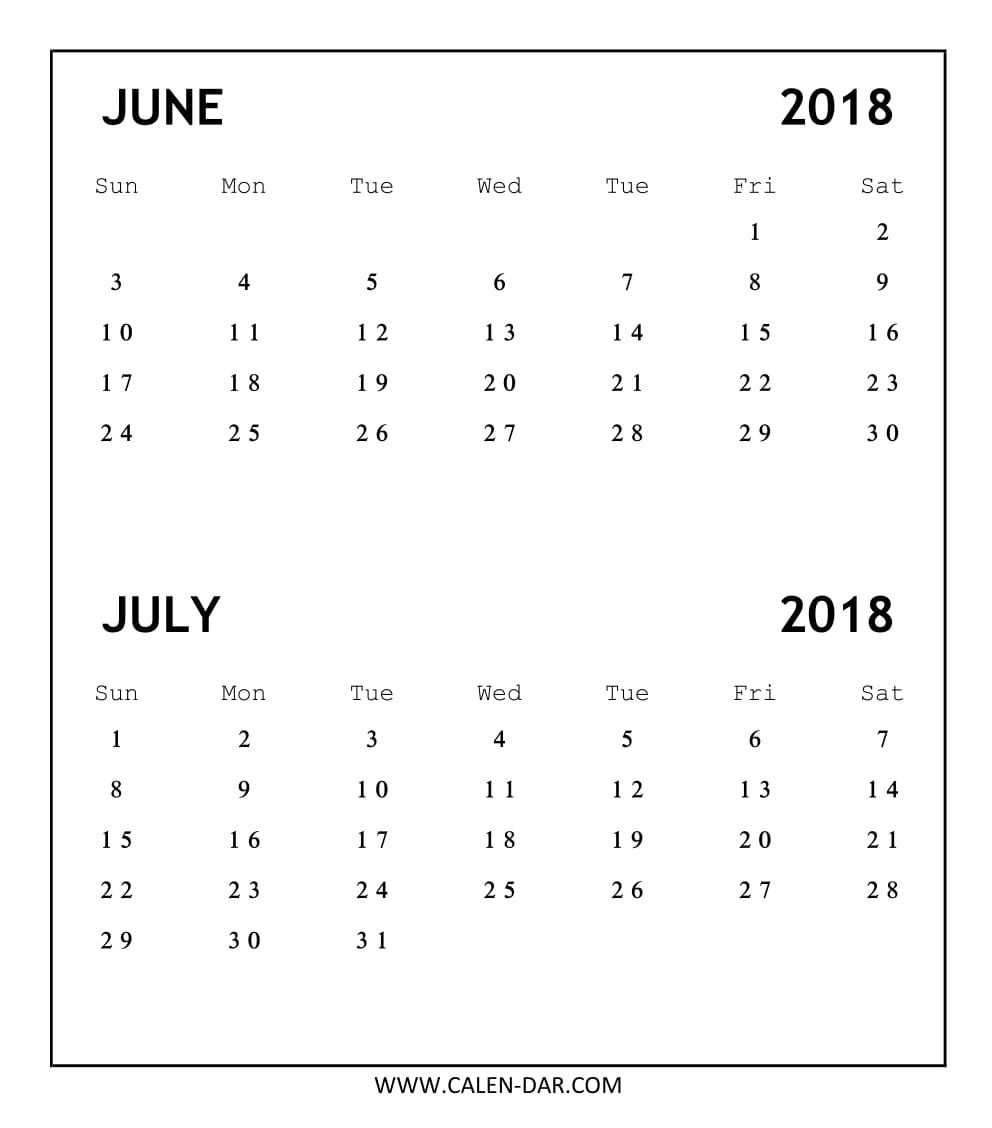 Printable Calendar June July 2018 Without Lines