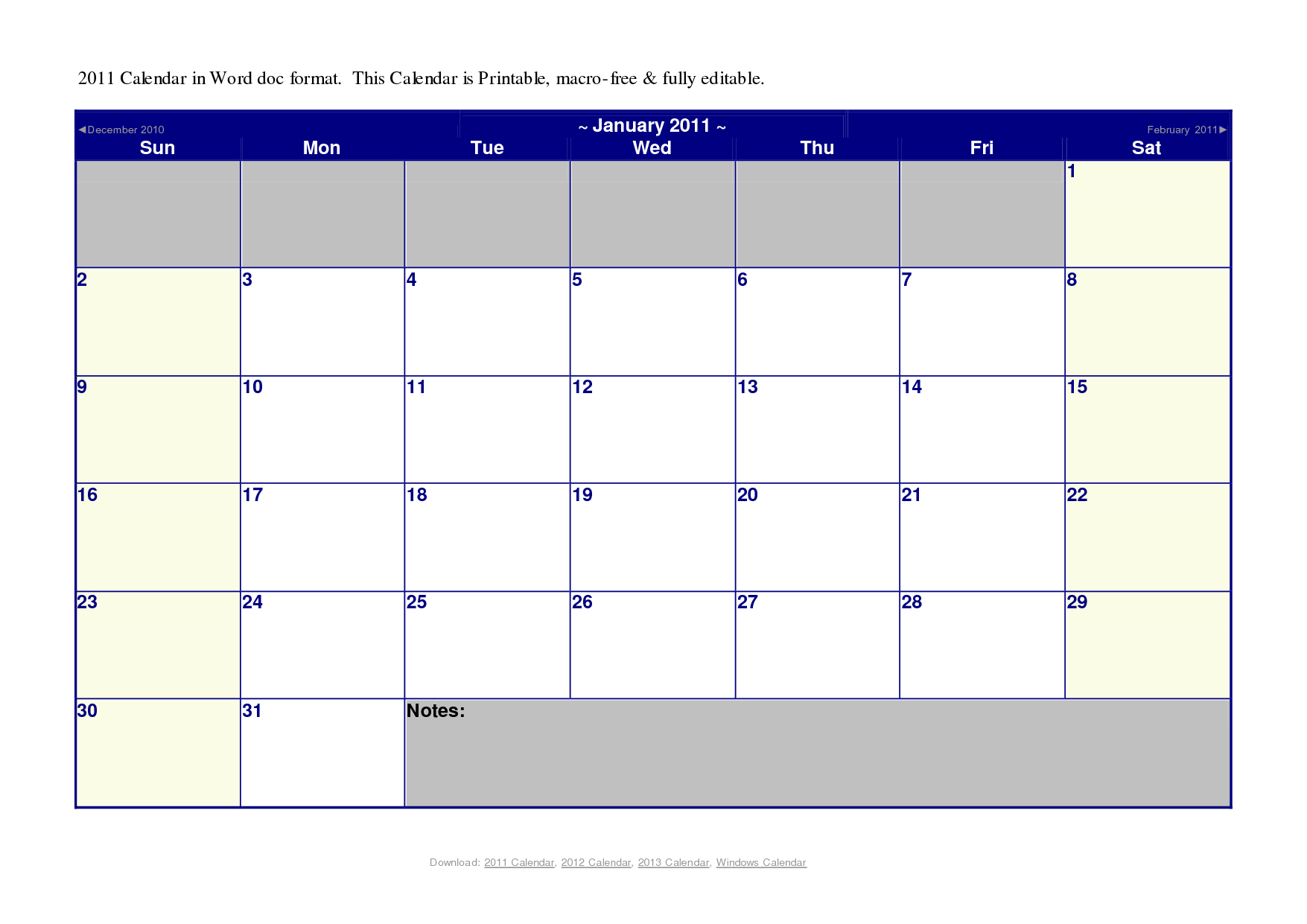 Printable Calendar Microsoft Word