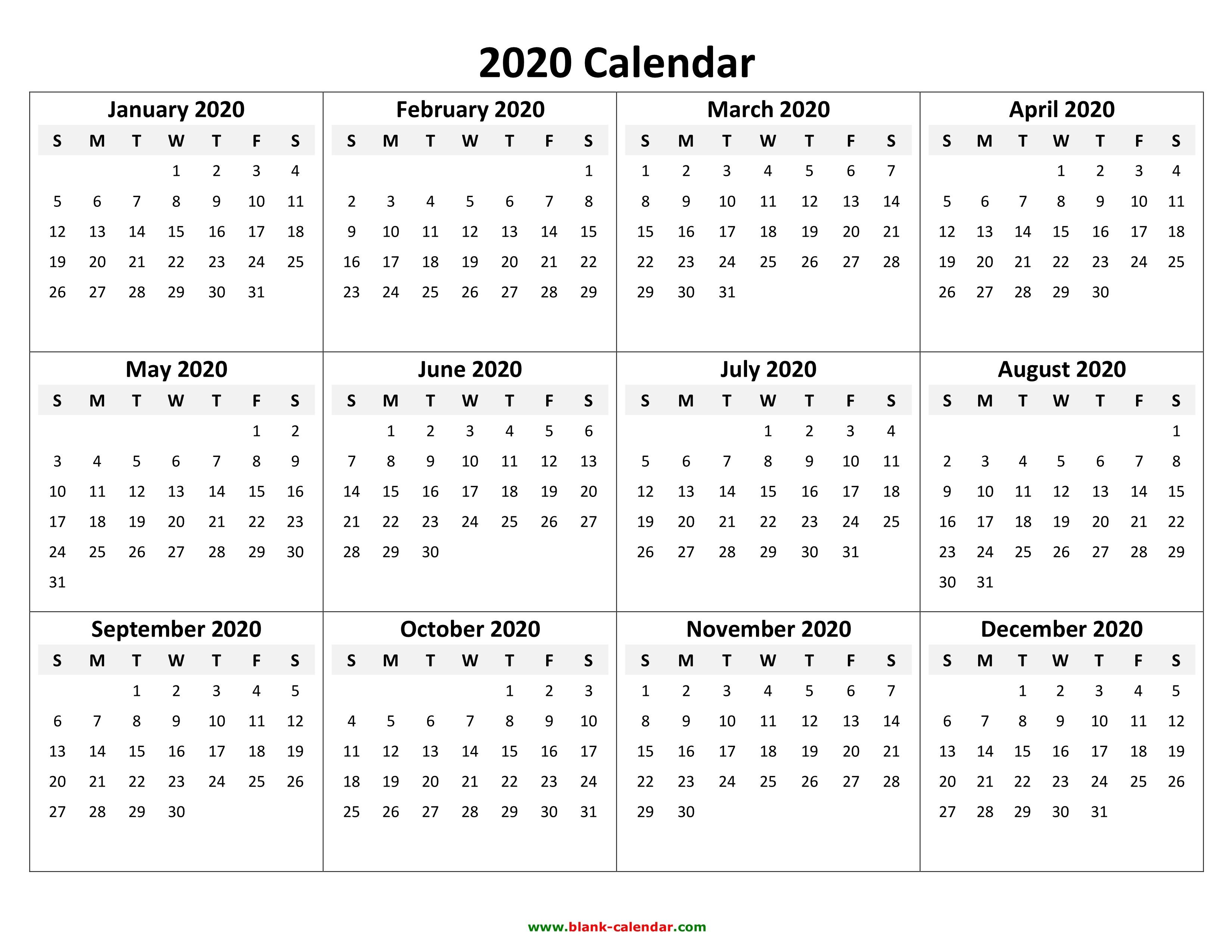 Printable Calendar Of 2020 Yearly Calendar 2020