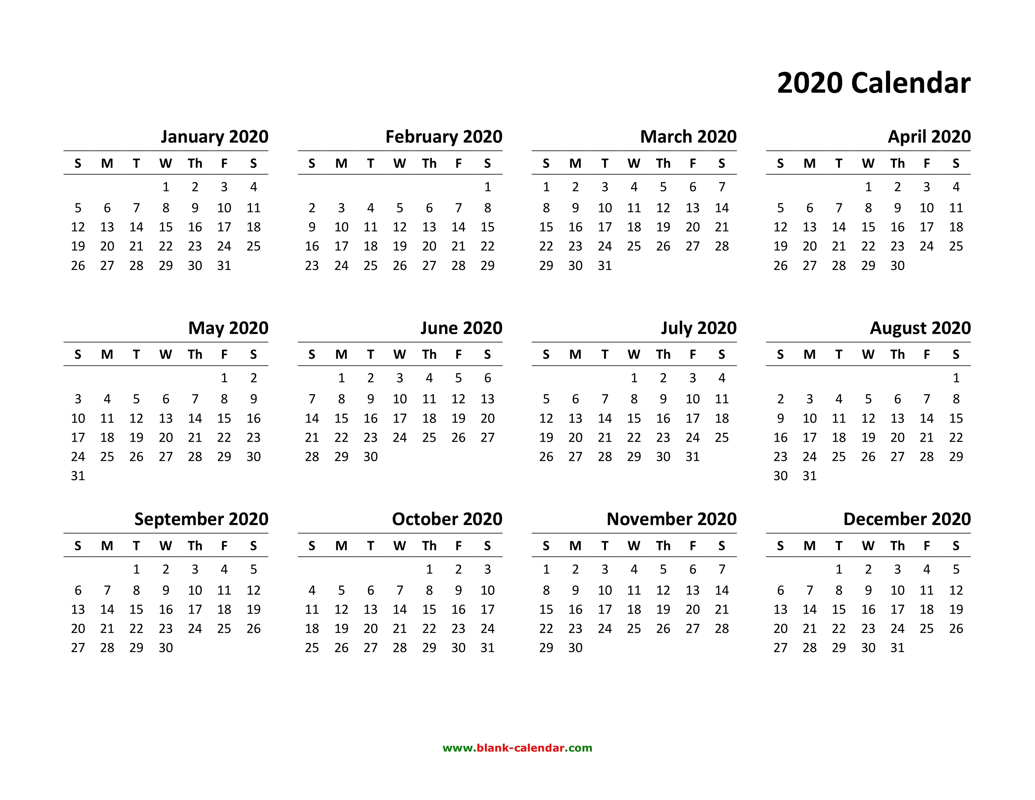 Printable Calendar Templates 2020 Yearly Calendar 2020