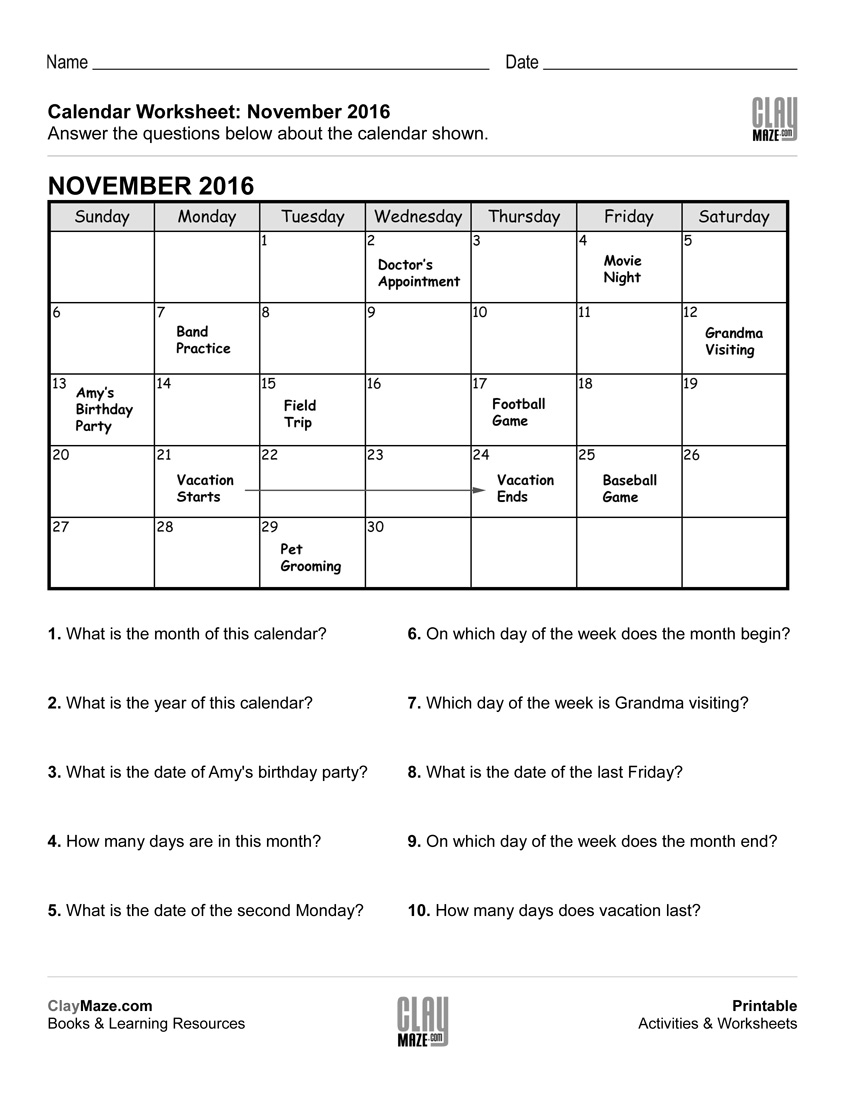 Printable Calendar Worksheets