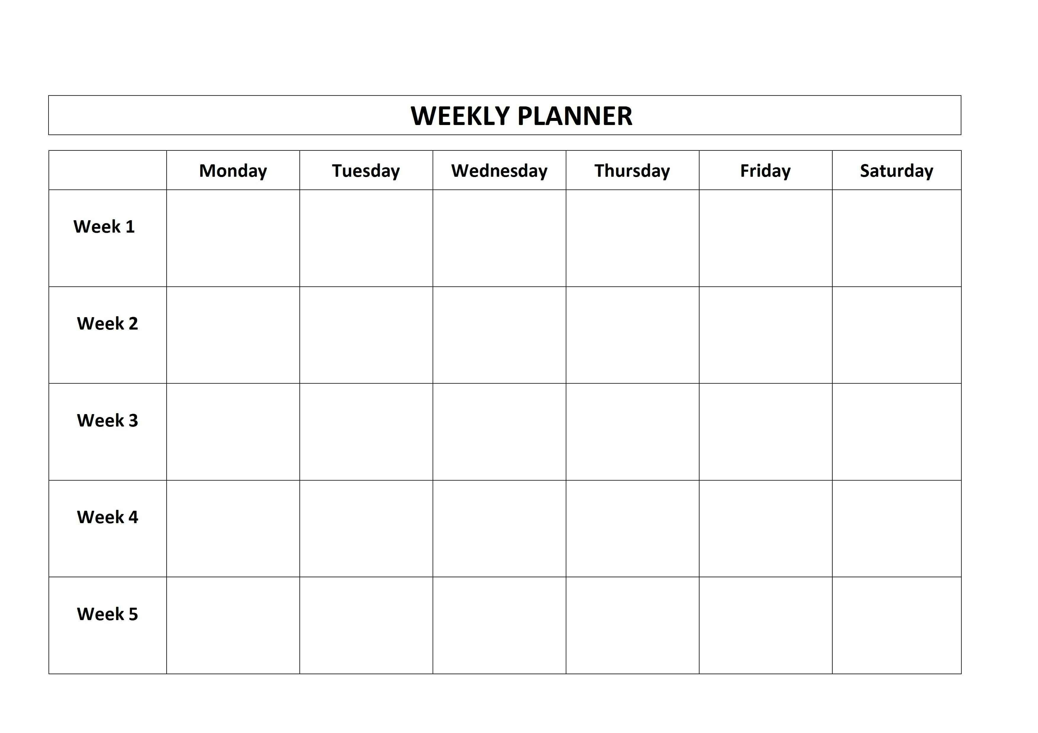 Printable Days Of The Week Calendar Cards Blank No Template Without