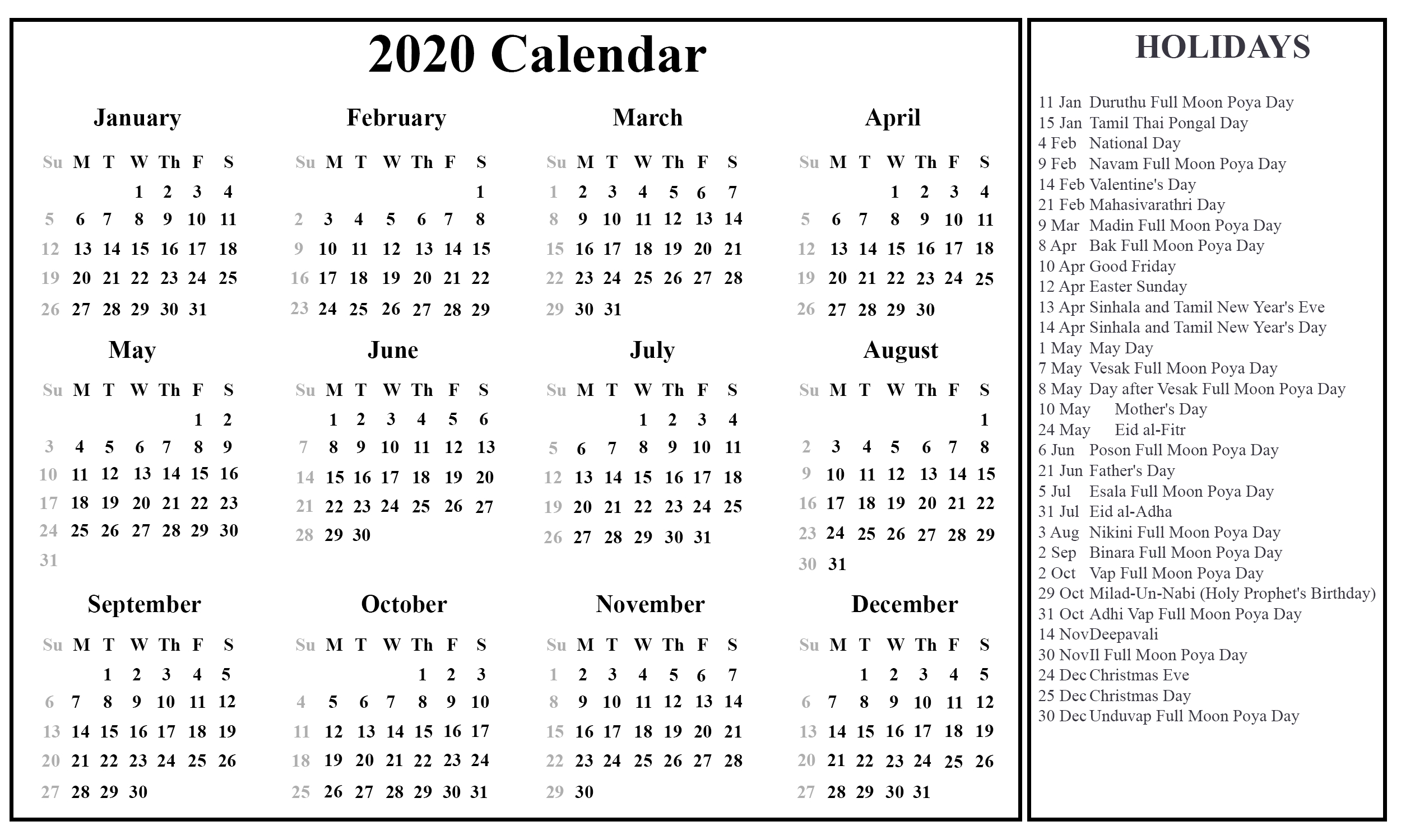 [%Printable Free Download Sri Lanka Calendar 2020 [Pdf, Excel & Word|2020 Calendar With Holidays Pdf|2020 Calendar With Holidays Pdf%]
