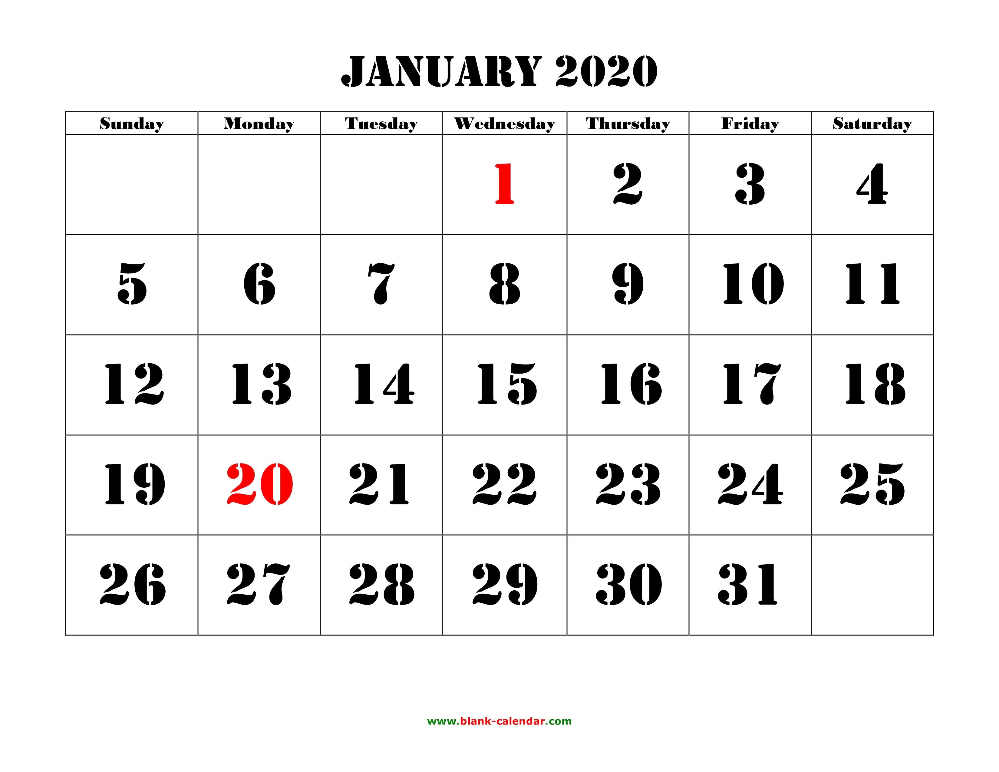 Printable January 2020 Calendar Large Font