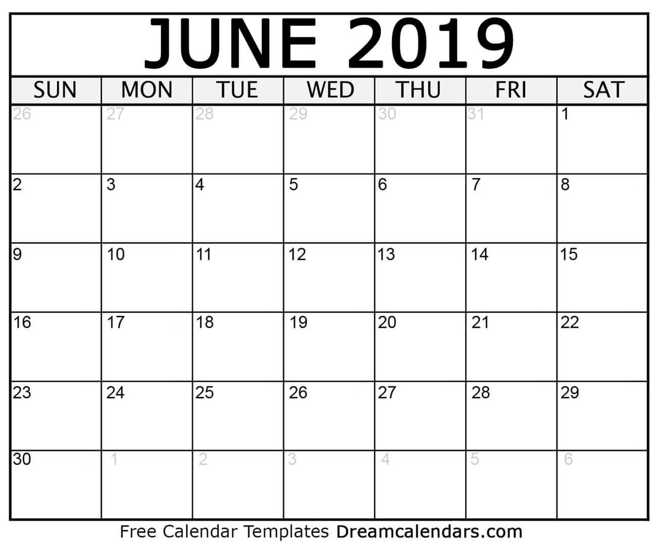 Printable June 2019 Calendar