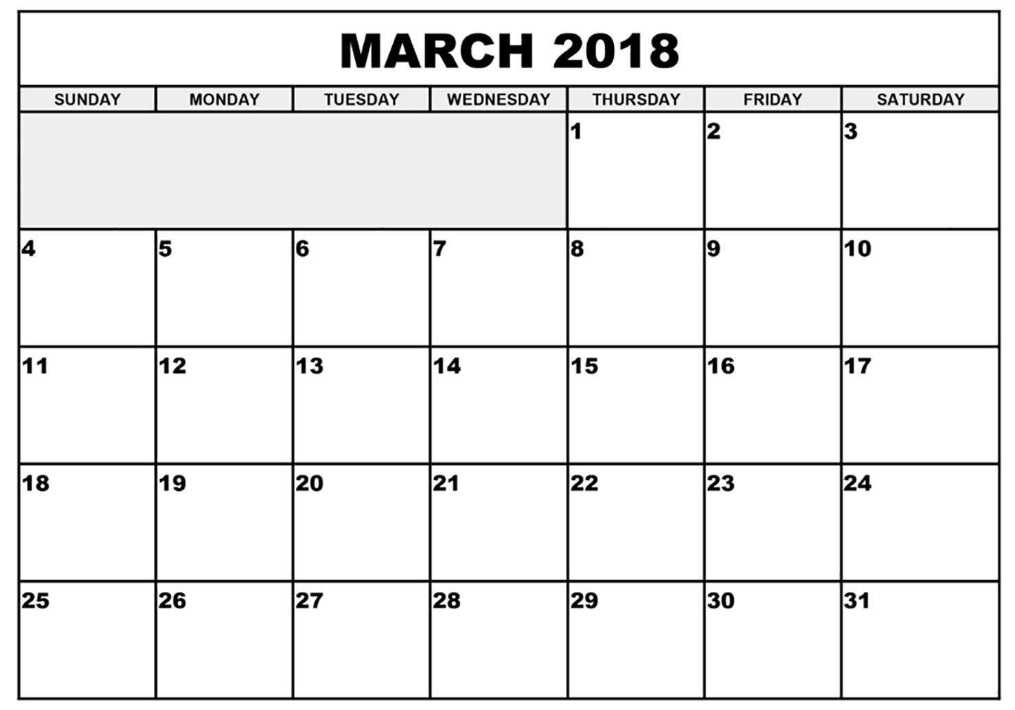 Printable March 2018 Calendar - Printable Monthly Calendar
