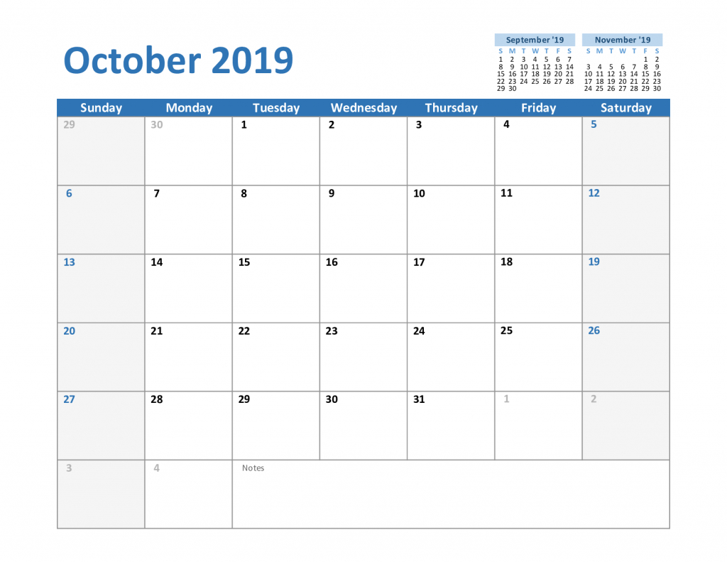 [%Printable October 2019 Calendar With Holidays [Pdf, Excel, Word|Calendar Blank October|Calendar Blank October%]