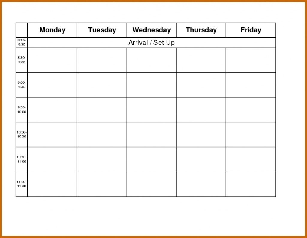Printable Weekly R Monday Through Friday Template Blank Free To