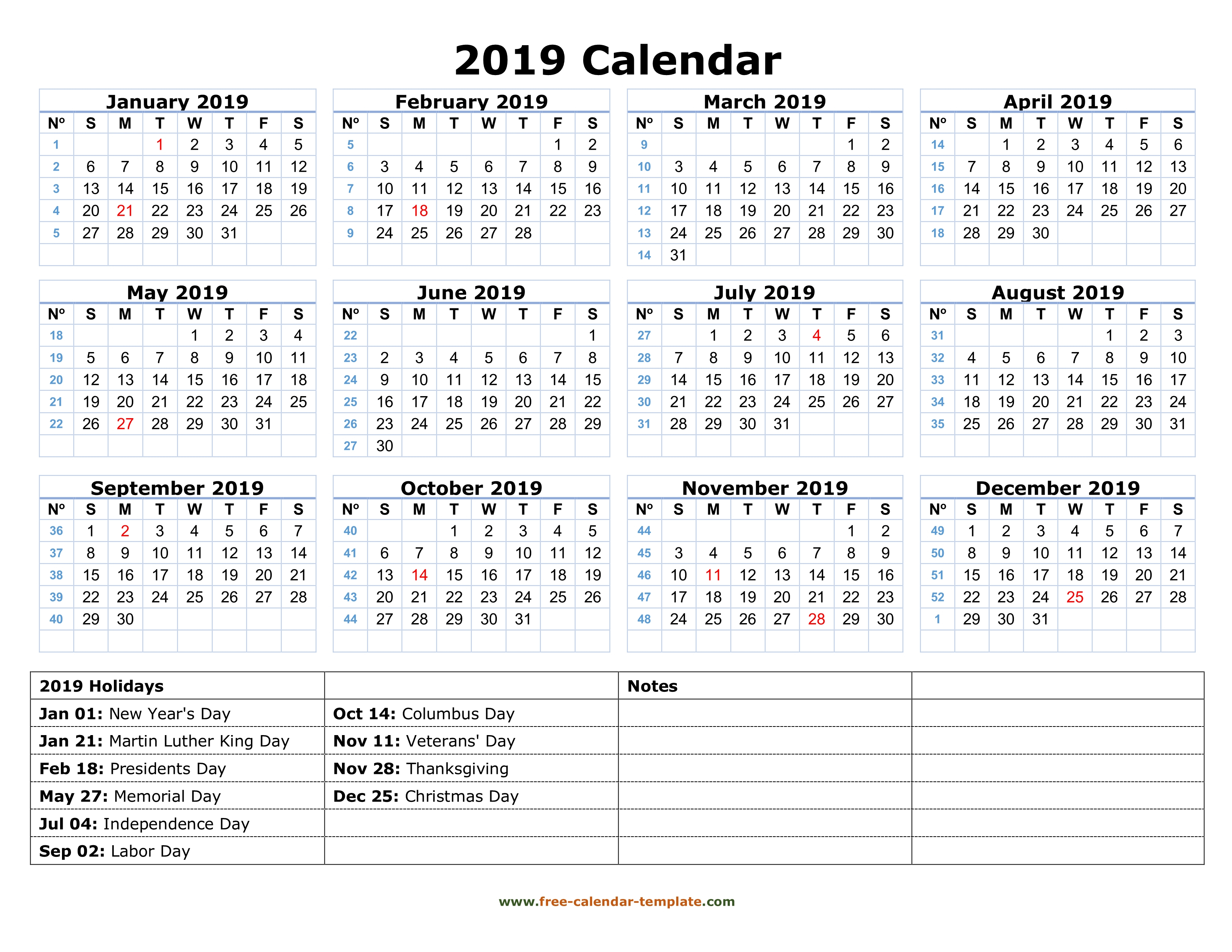 Printable Yearly Calendar 2019