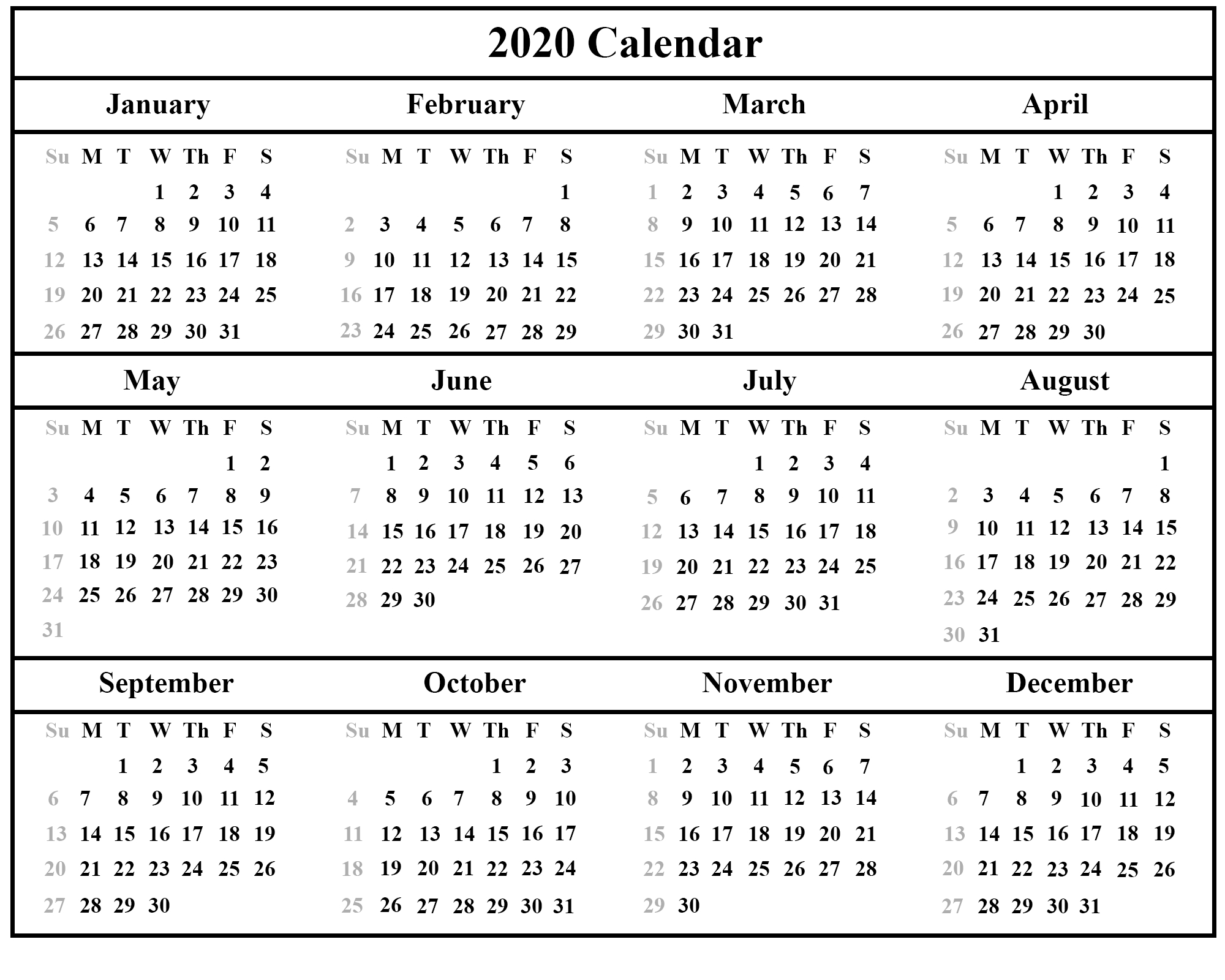 [%Printable Yearly Calendar 2020 Template With Holidays [Pdf, Word|2020 Calendar With Holidays Pdf|2020 Calendar With Holidays Pdf%]