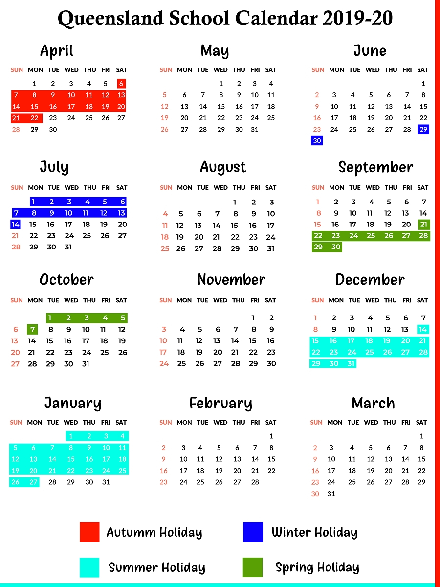 Qld School Holidays Calendar 2019 – 2020