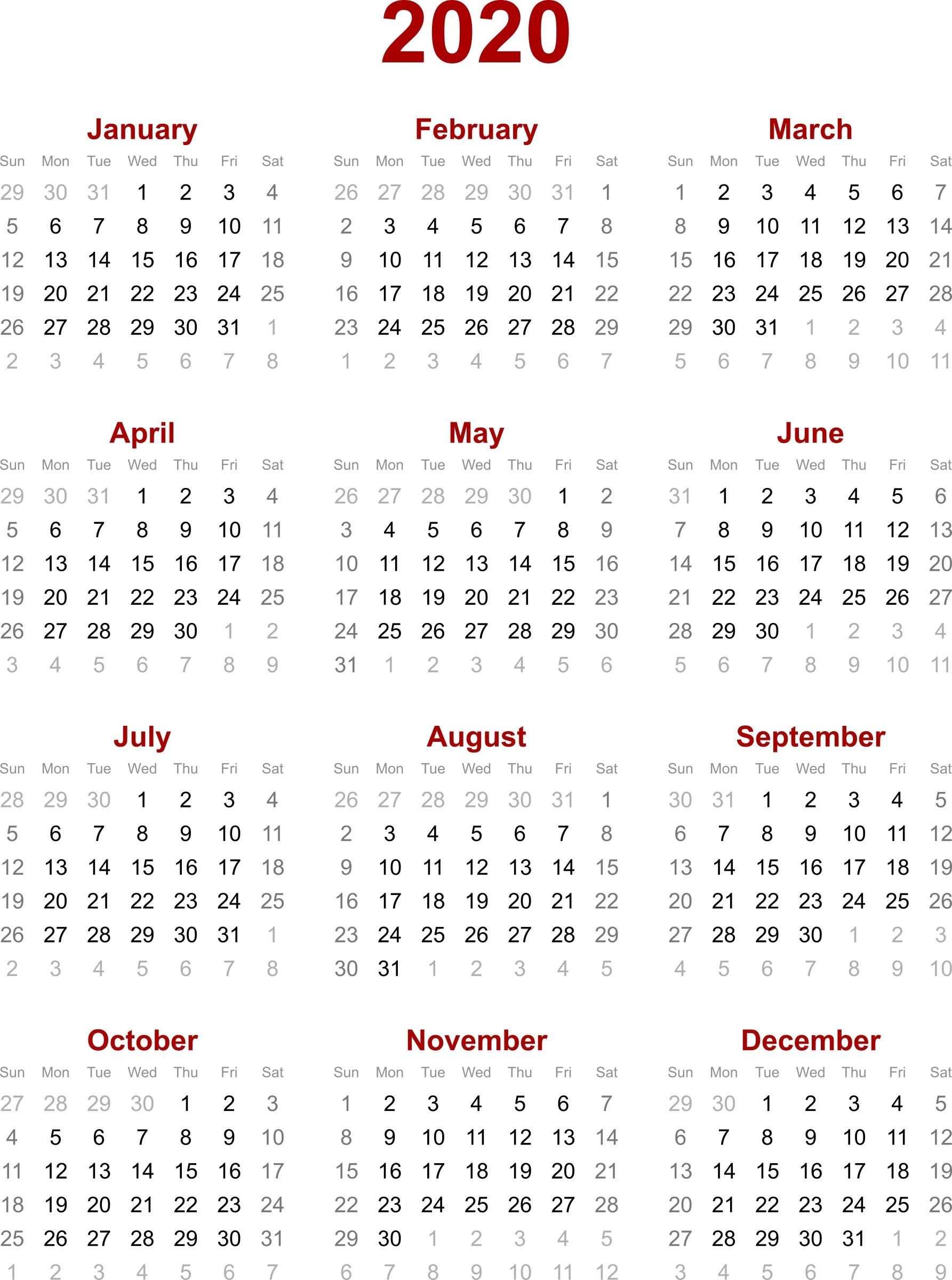 Remarkable 2020 Calendar Singapore Holiday • Printable Blank