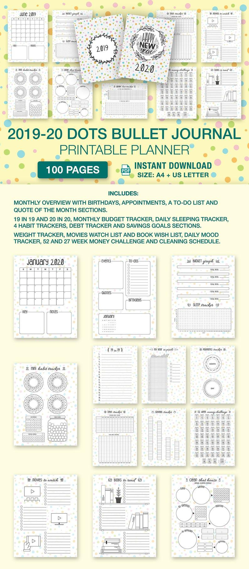 Sale 2019-2020 Dots Bullet Journal A4 & Us Letter: Printable 18 Month  Starter Kit 100 Page Calendar Planner Budget Weight Loss Habit Tracker