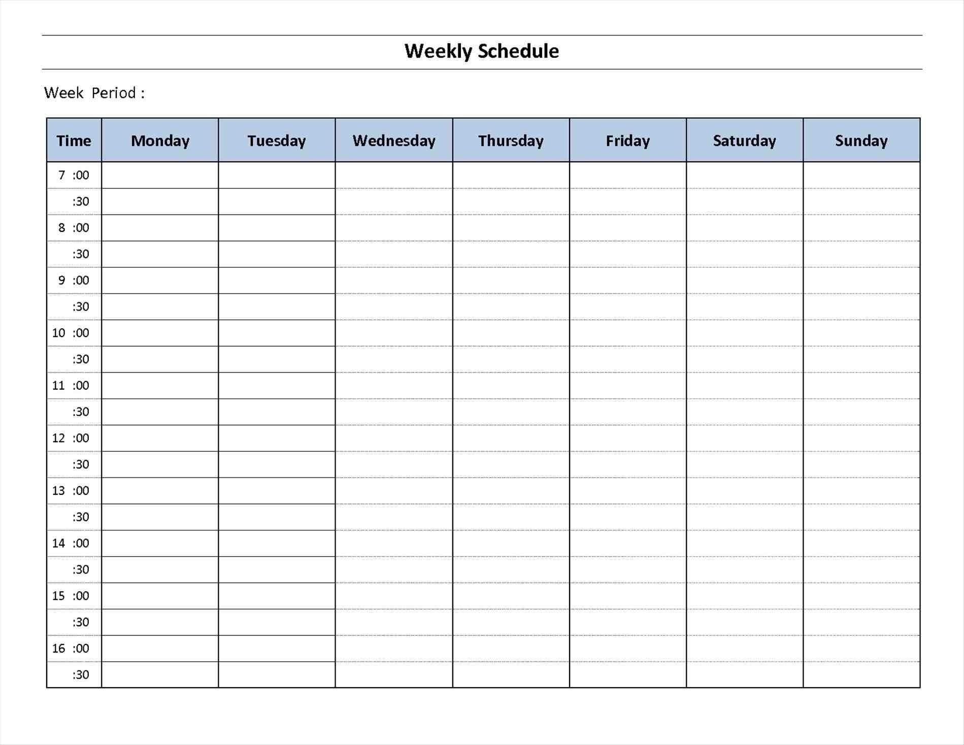 Schedule Template Day Week Calendar Printable Blank
