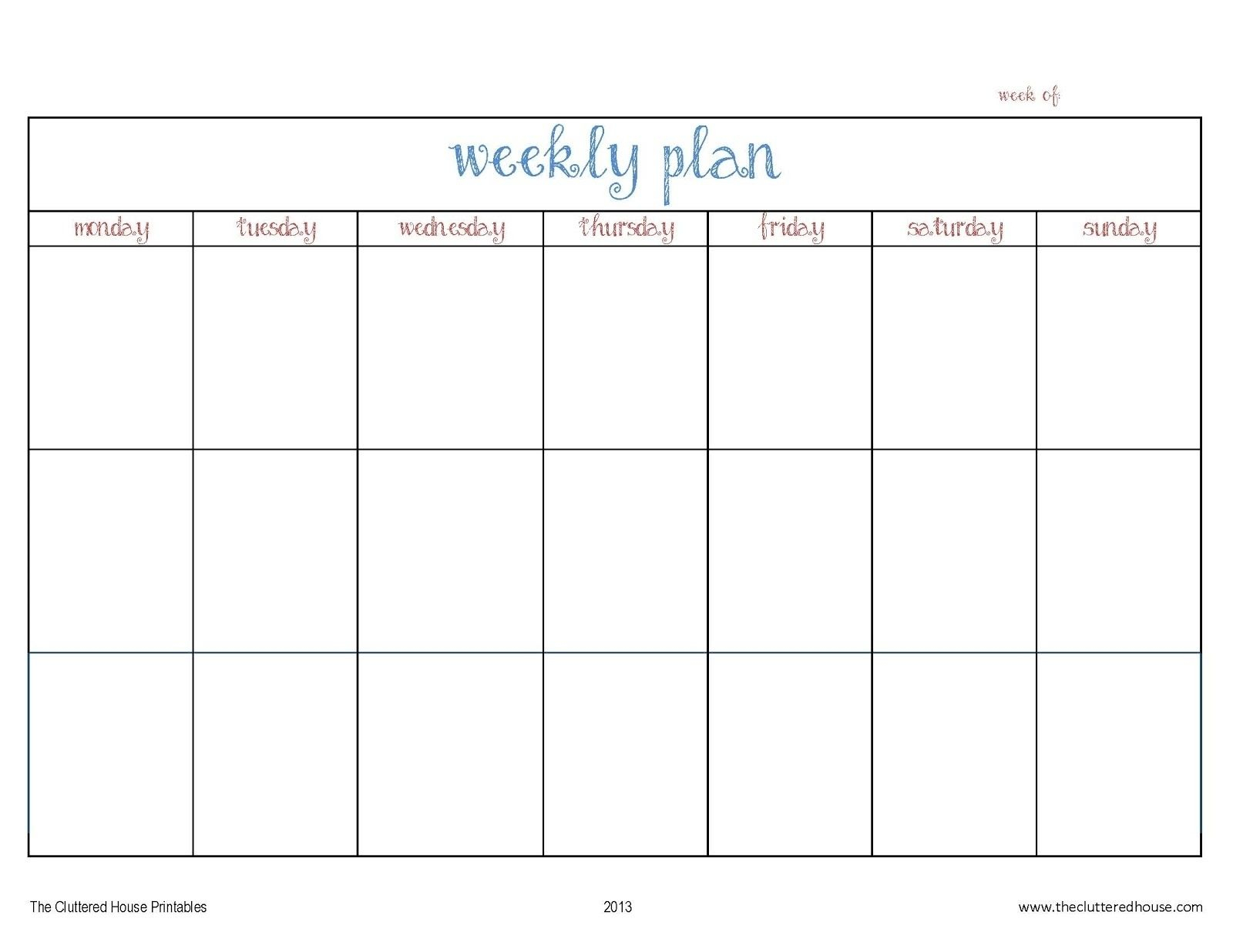 Schedule Template Print Blank Calendar Outlook Weekly Day
