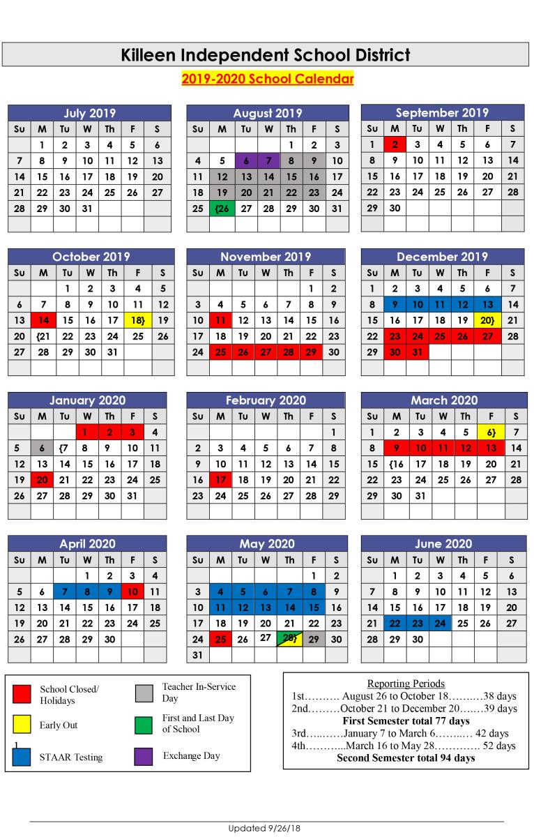 School Calendar 2020-21
