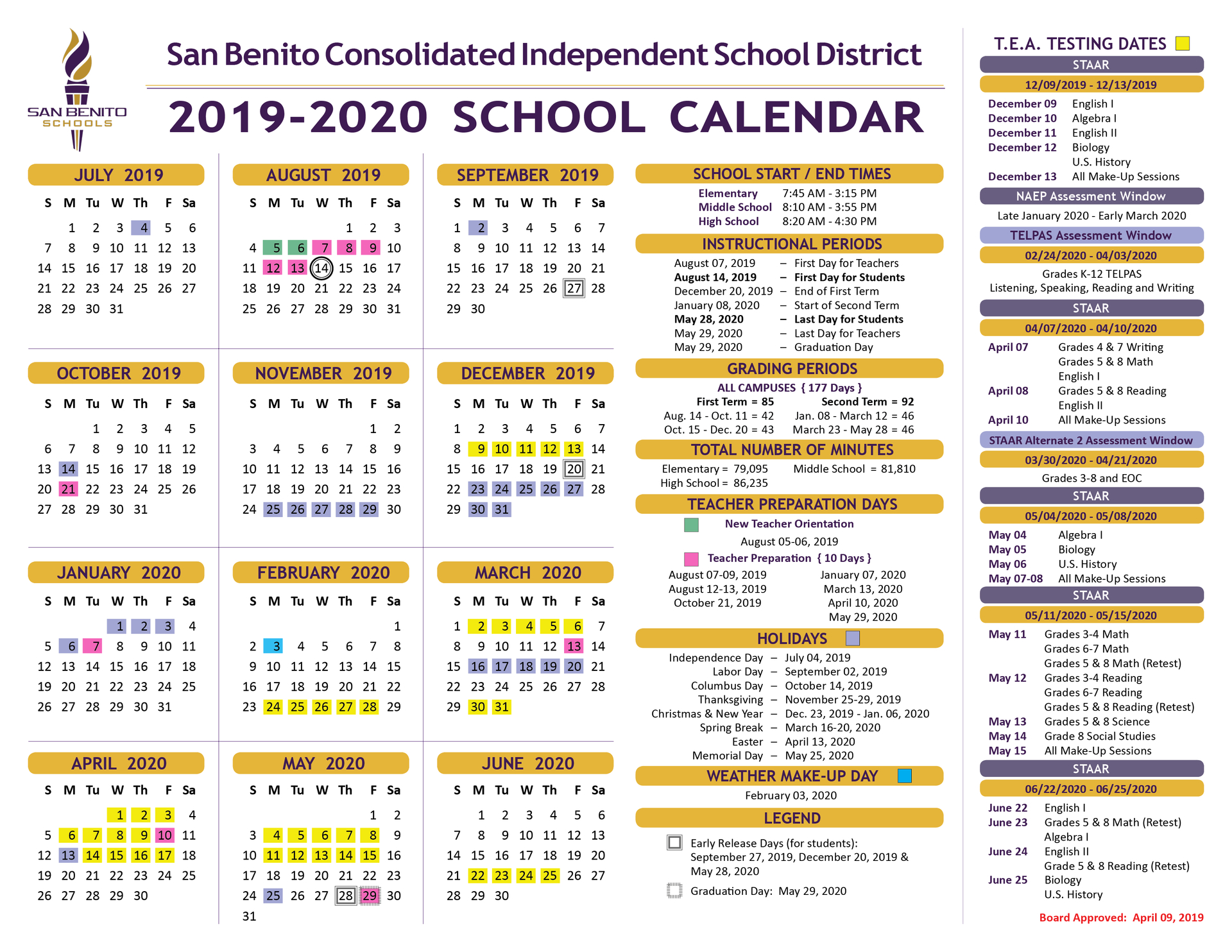 School Calendar – District – San Benito Consolidated Independent