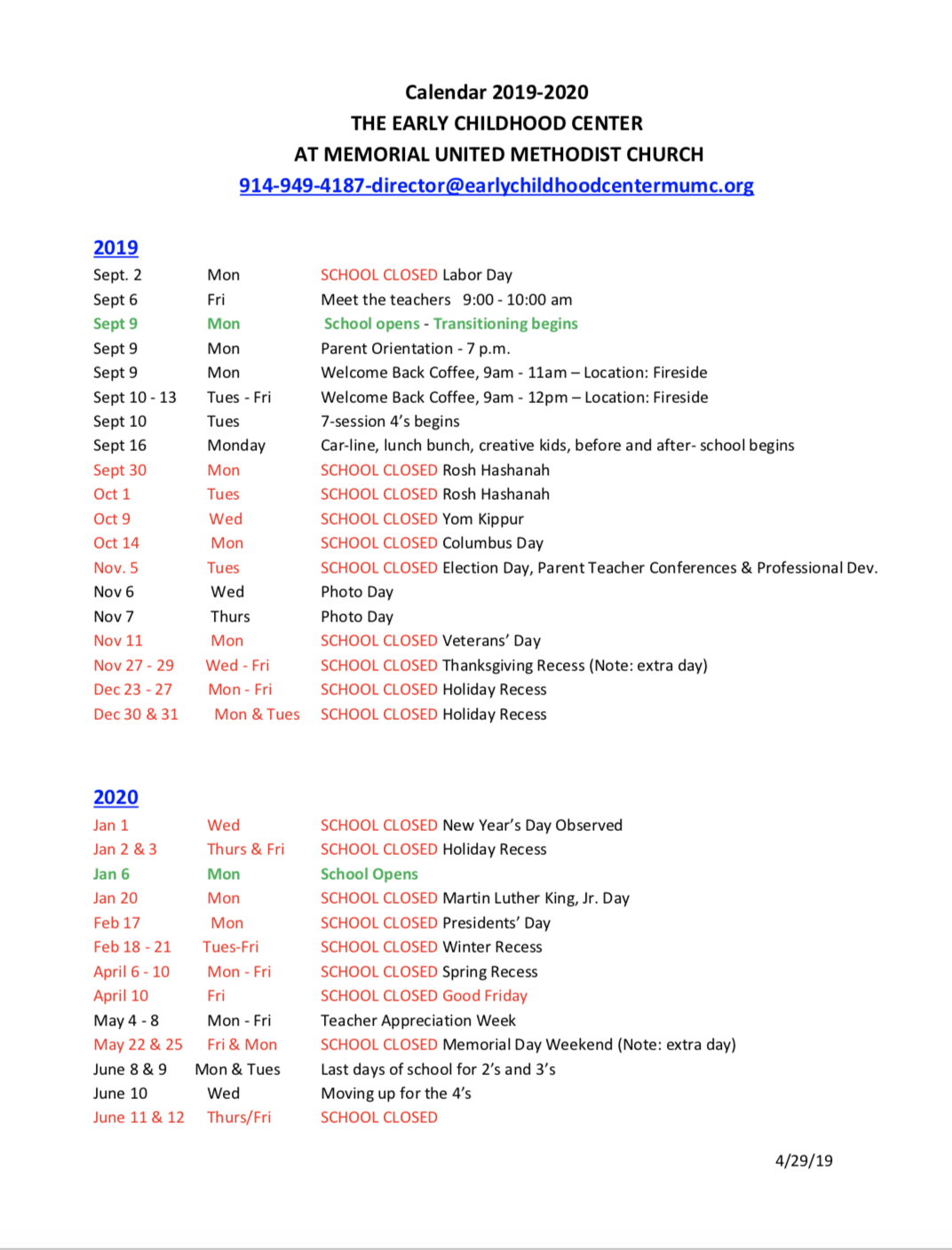 School Calendar - Early Childhood Center At Memorial United