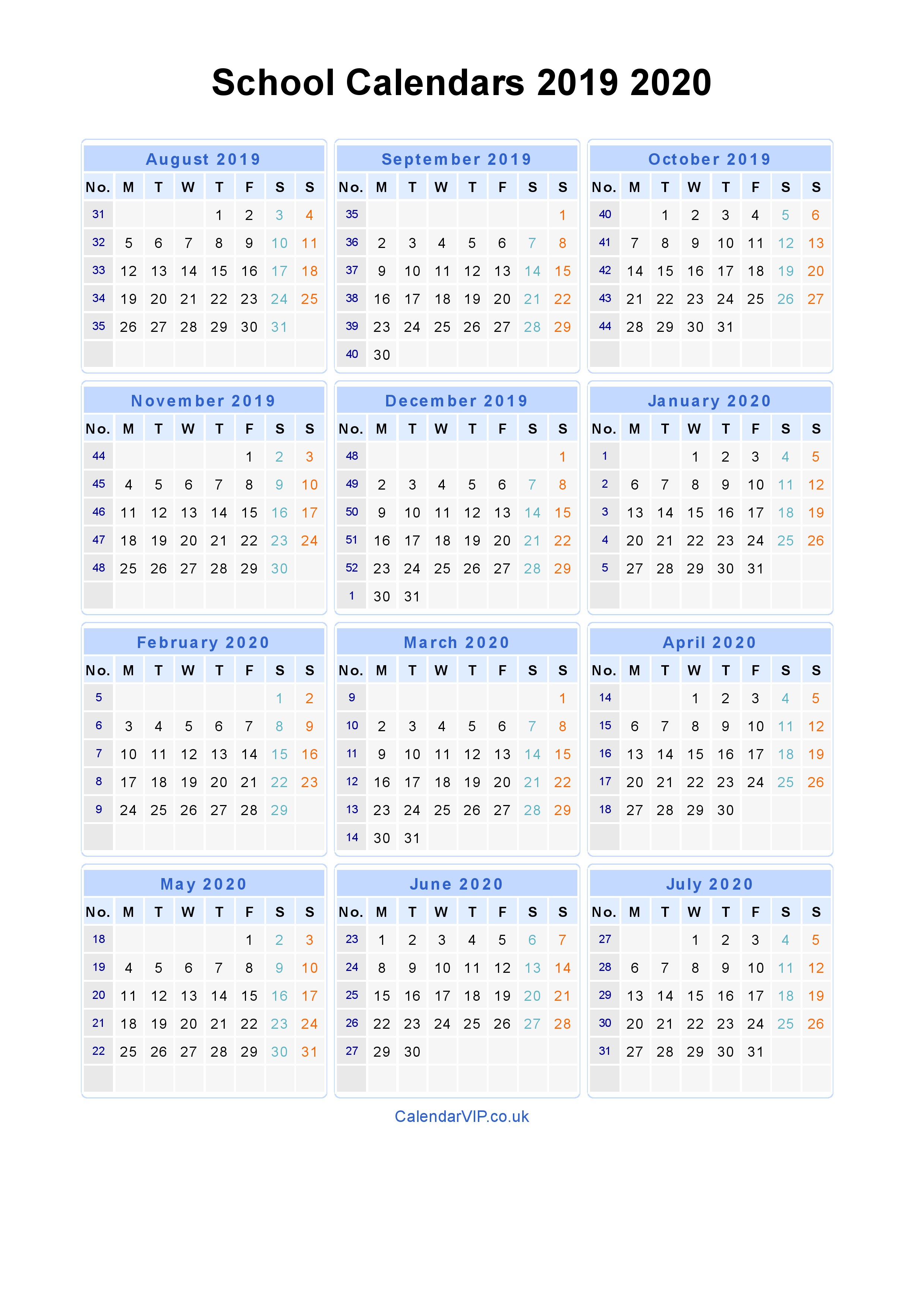 School Calendars 2019 2020 - Calendar From August 2019 To July 2020