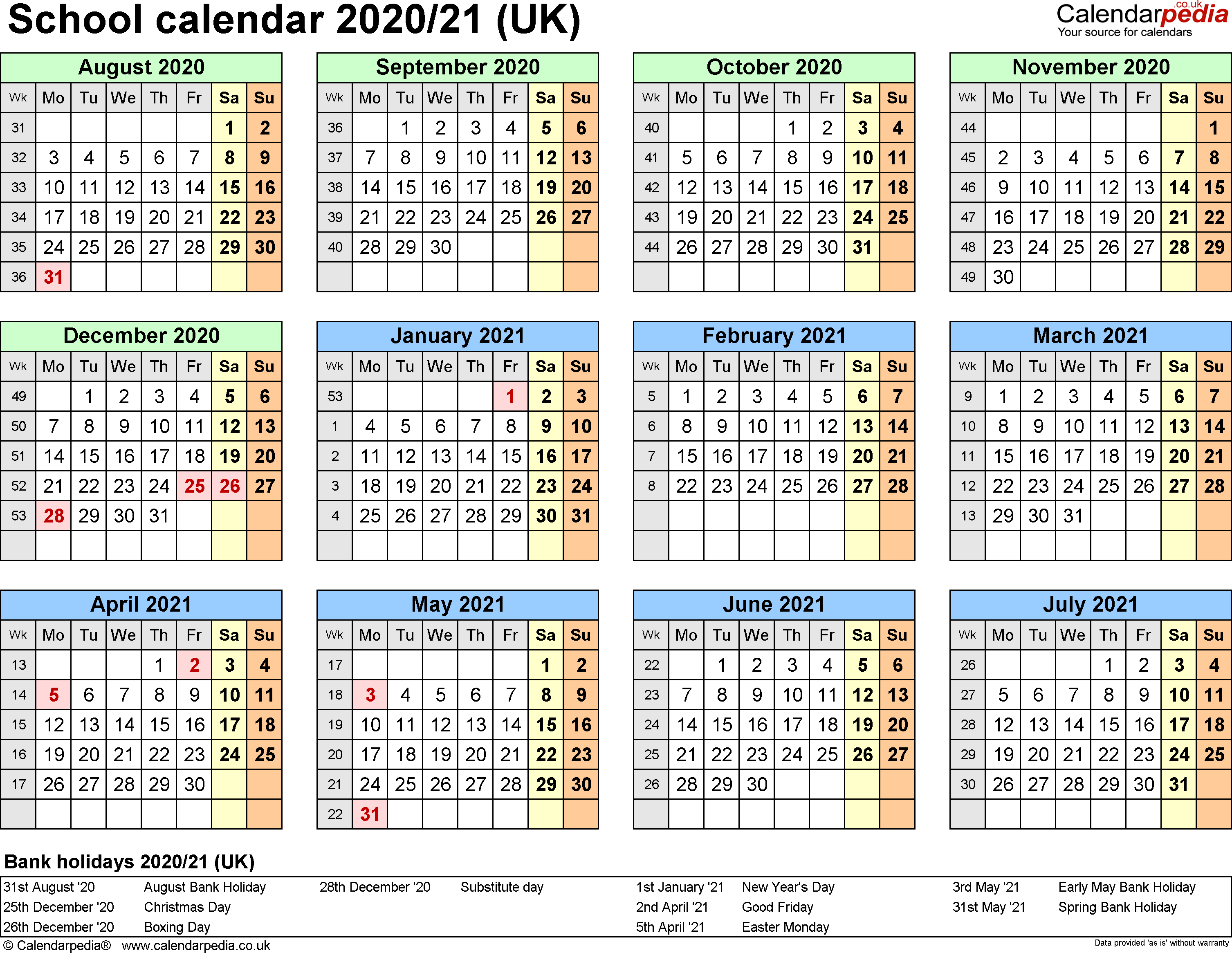 School Calendars 2020/2021 As Free Printable Word Templates