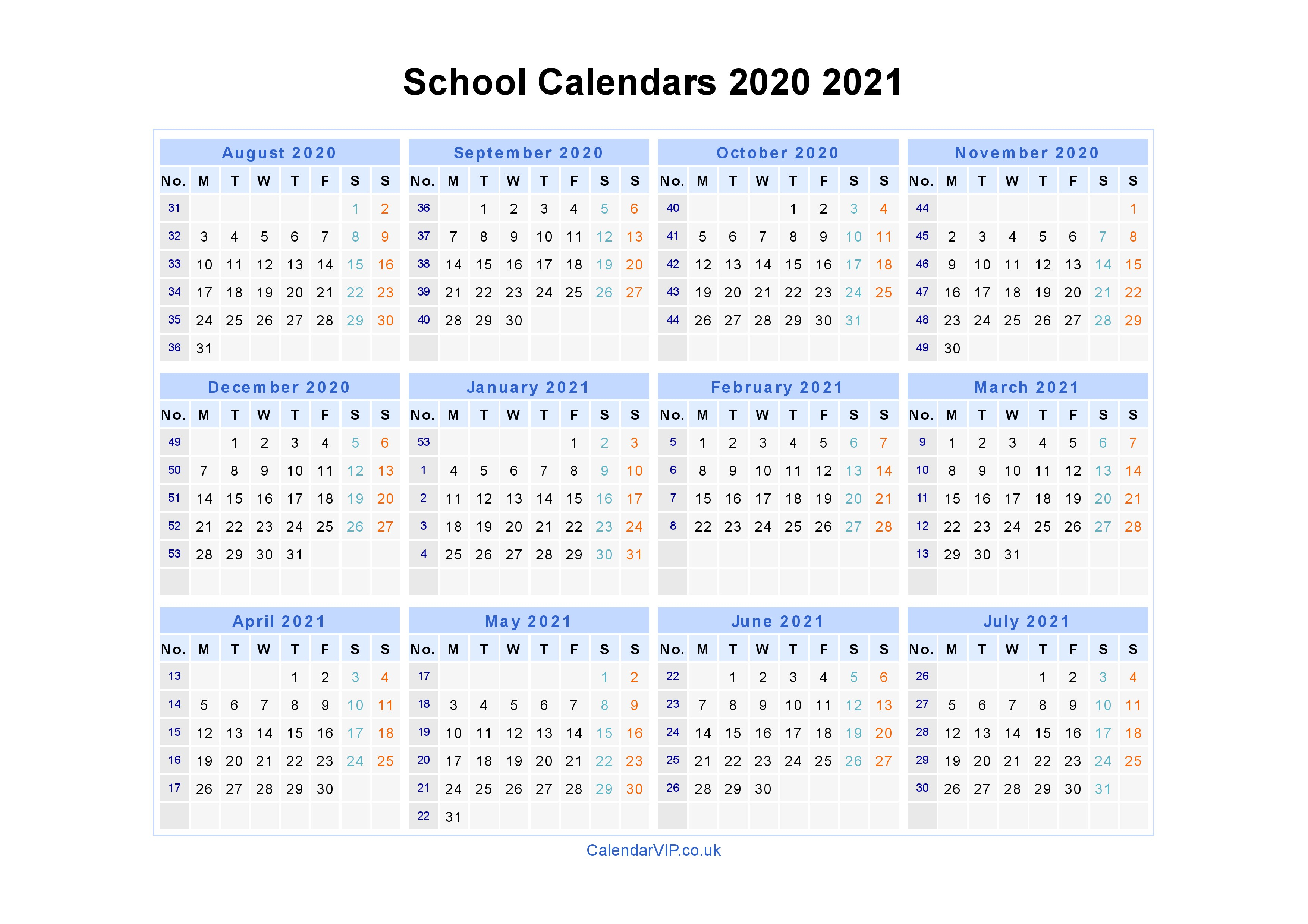 School Calendars 2020 2021 - Calendar From August 2020 To July 2021