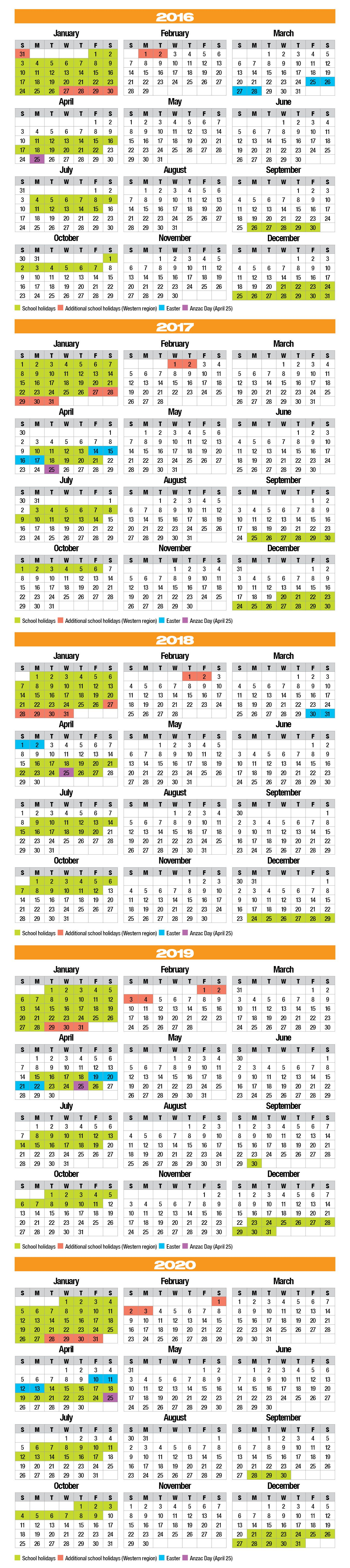 School Holidays 2016-2020