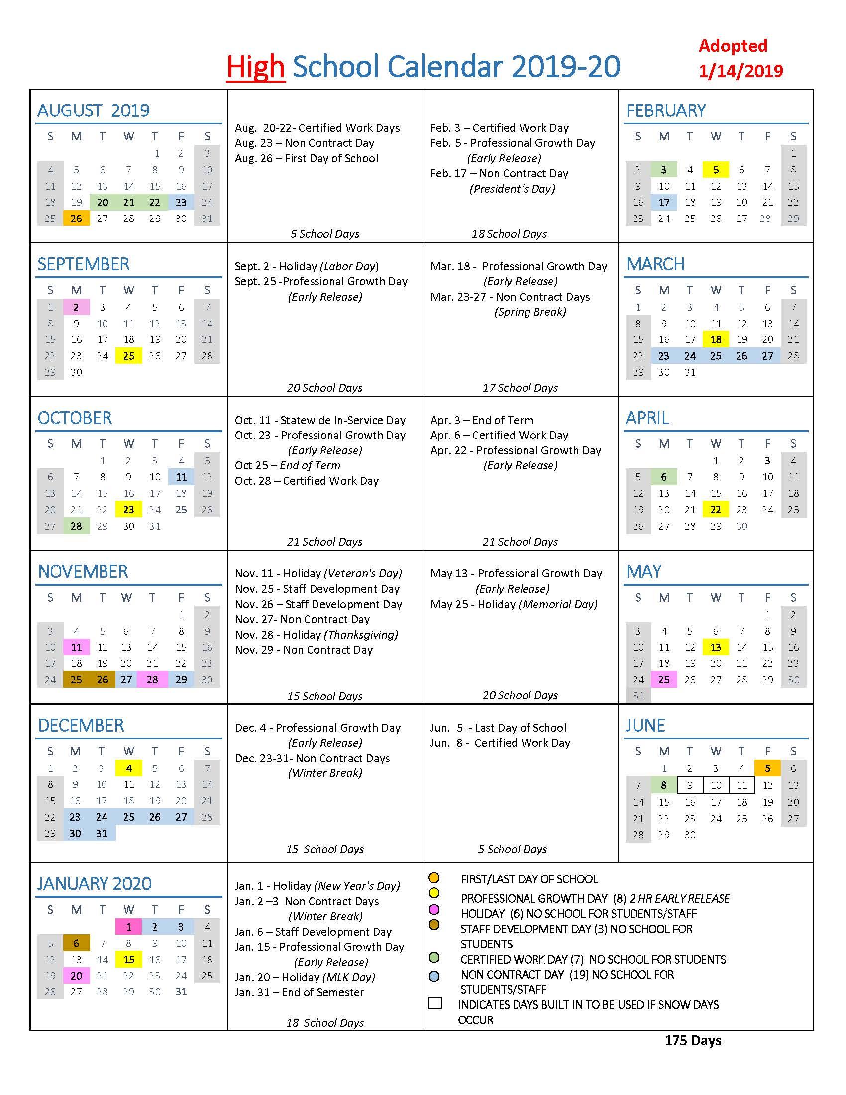 School Year Calendars / Wlwv School Calendars