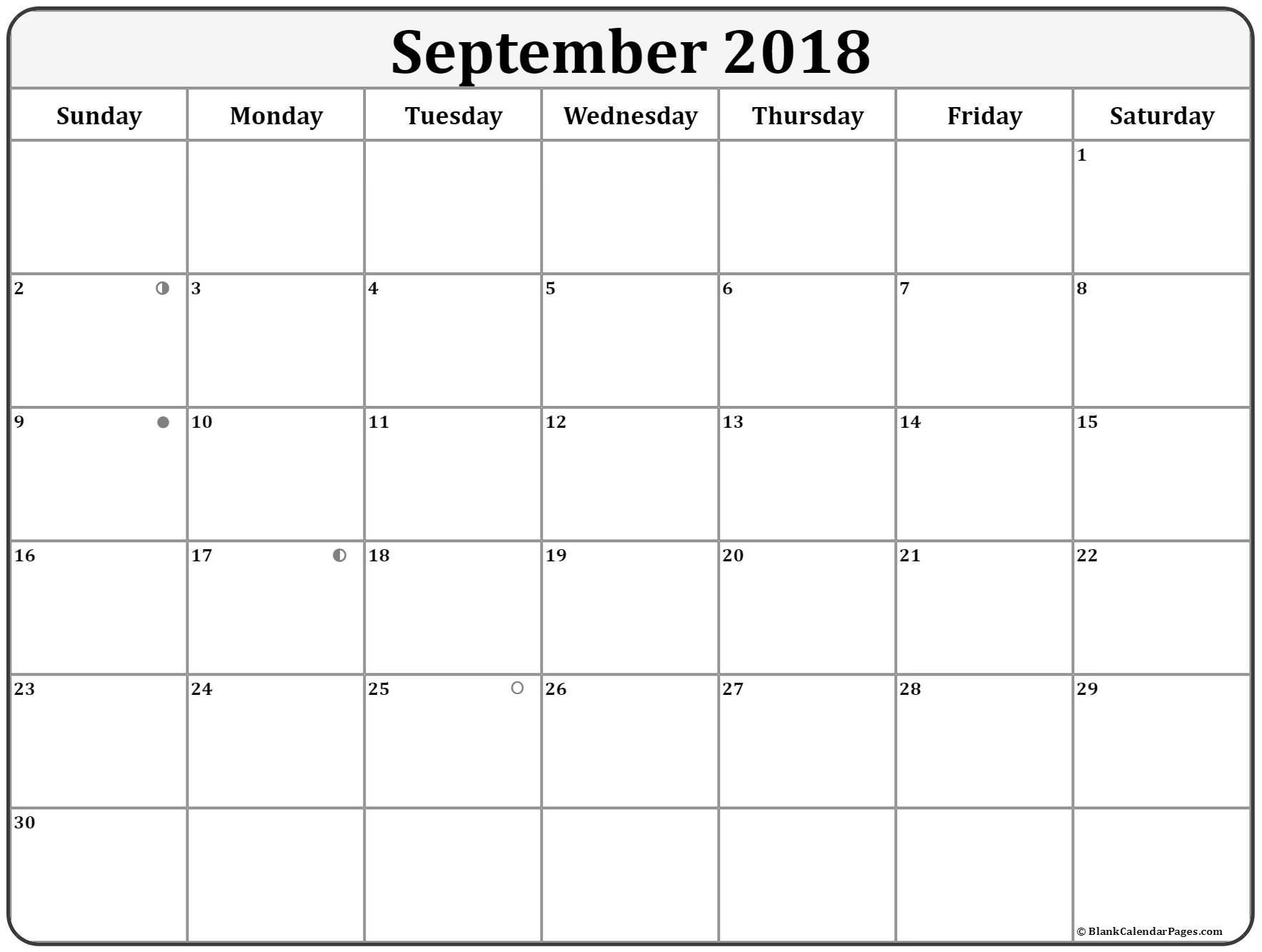 September 2018 Lunar Calendar