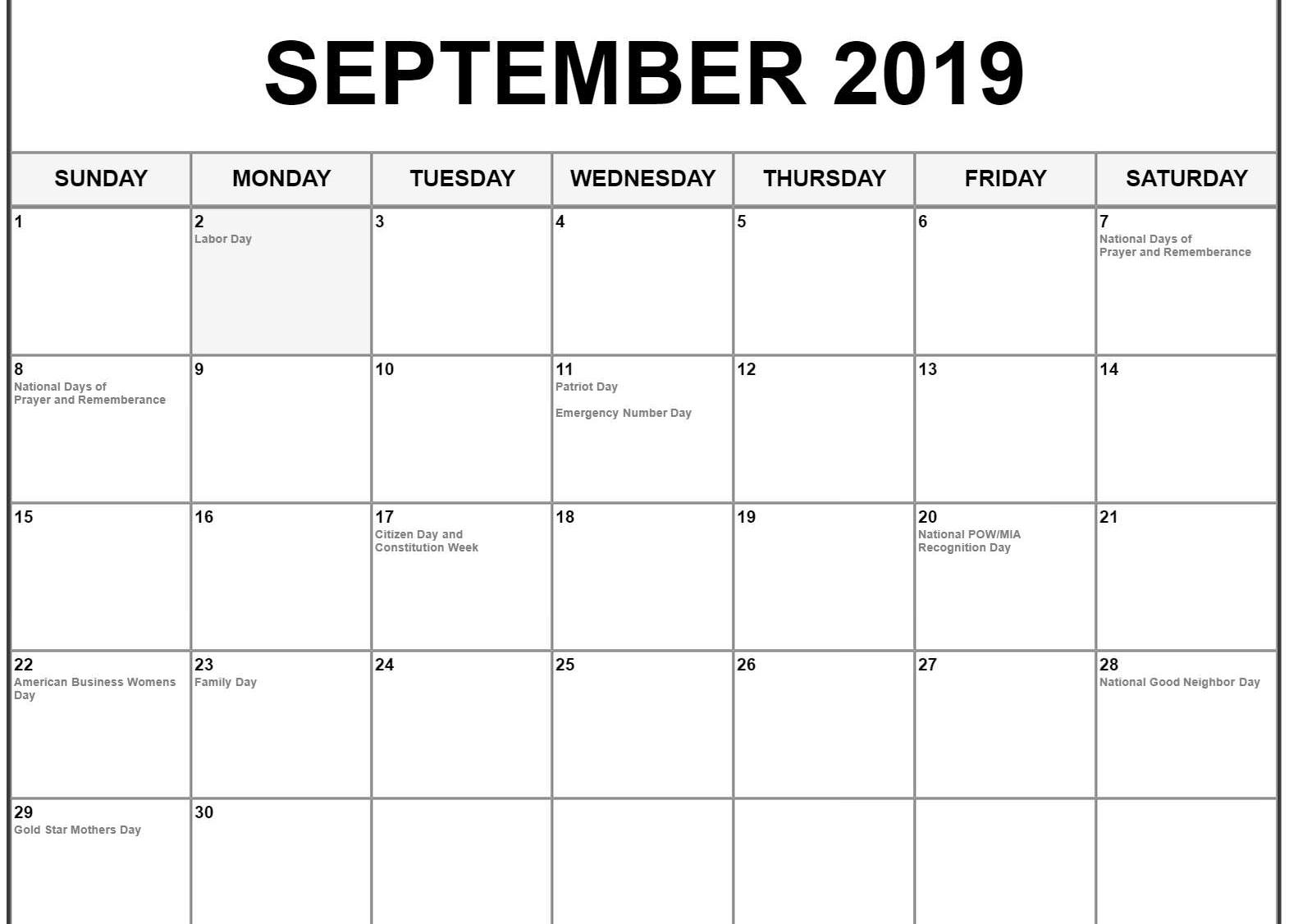 September 2019 Calendar With Holidays - Printable Calendar Templates