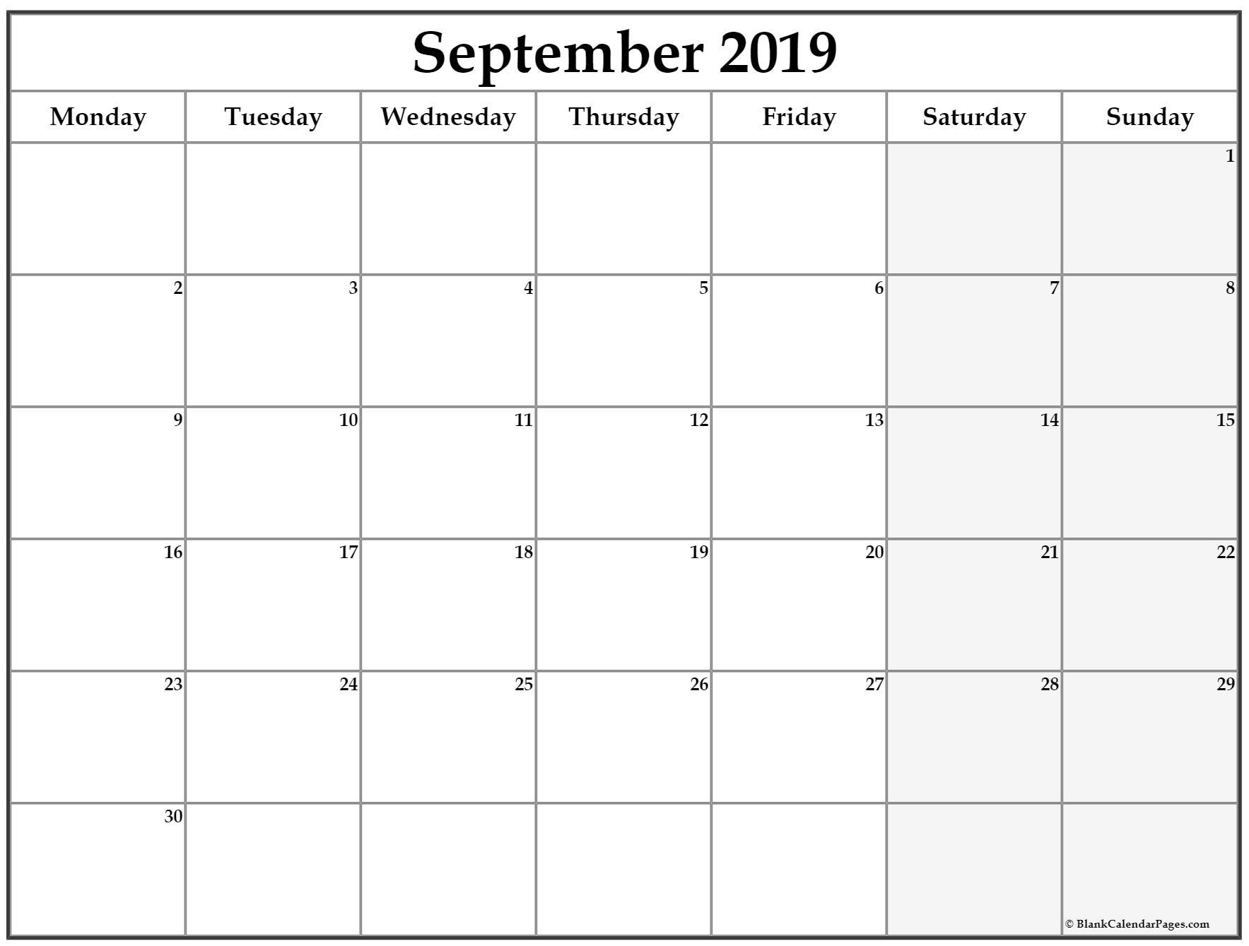September 2019 Monday Calendar