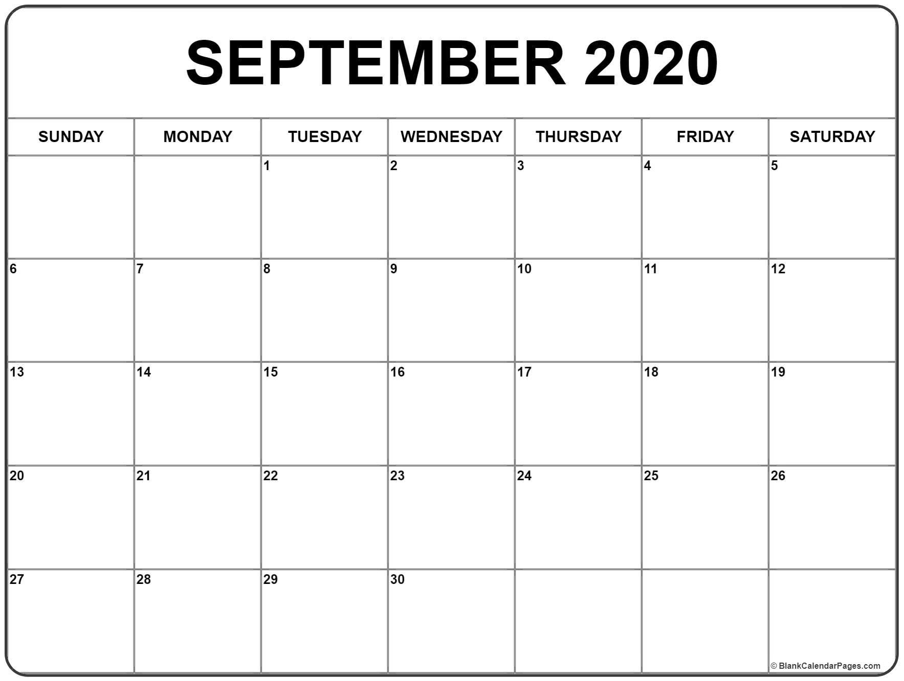 September 2020 Calendar Canada