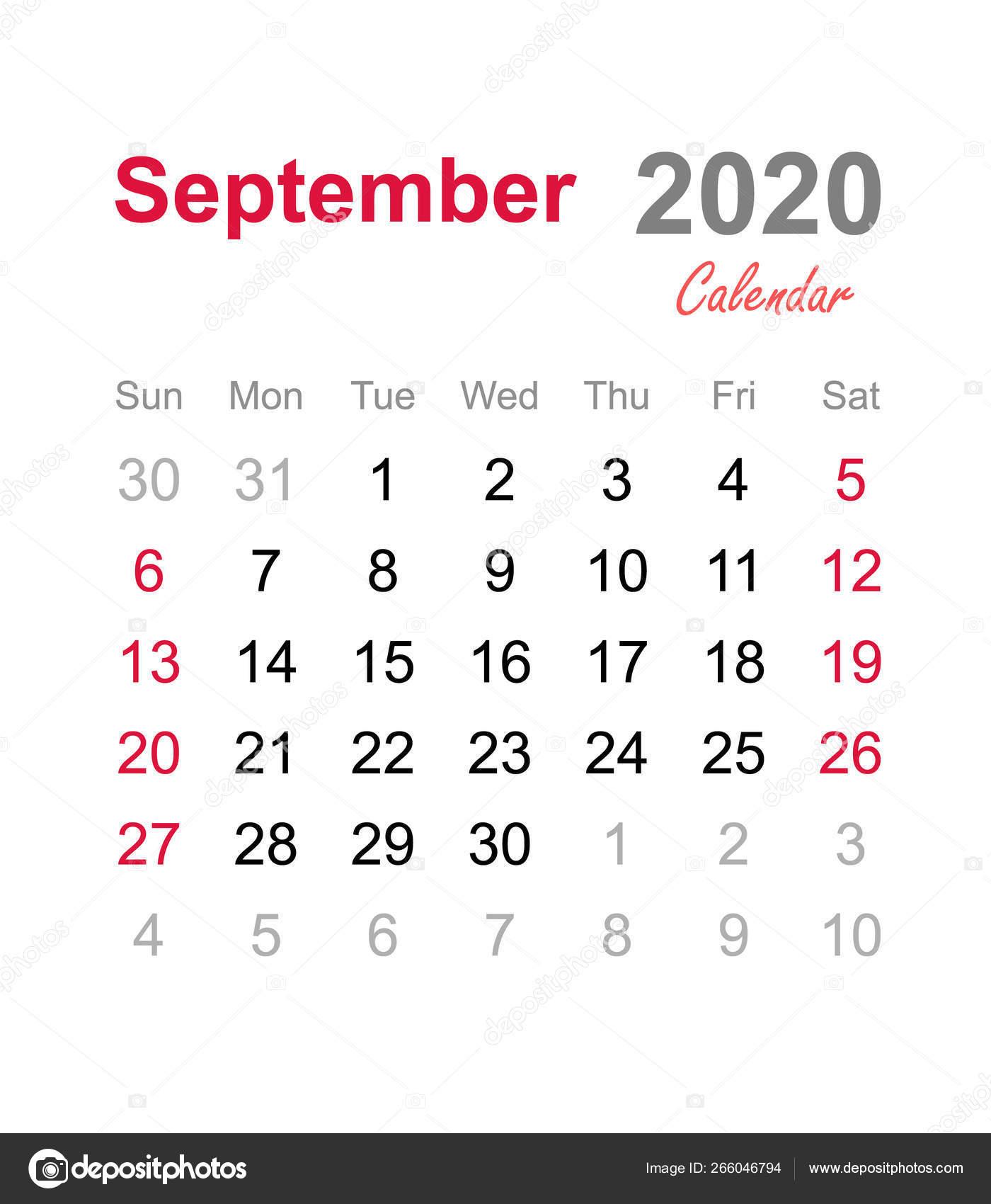 September 2020 Calendar Monthly Calendar Template 2020 Monthly