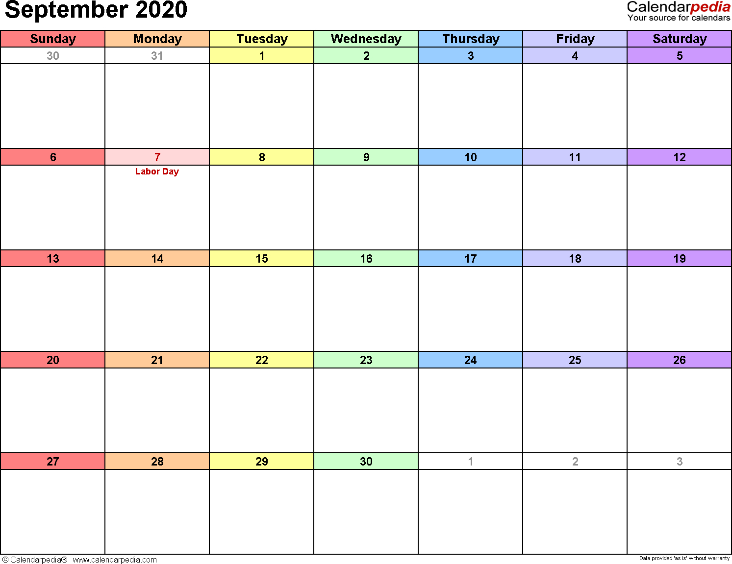 September 2020 Calendars For Word, Excel & Pdf