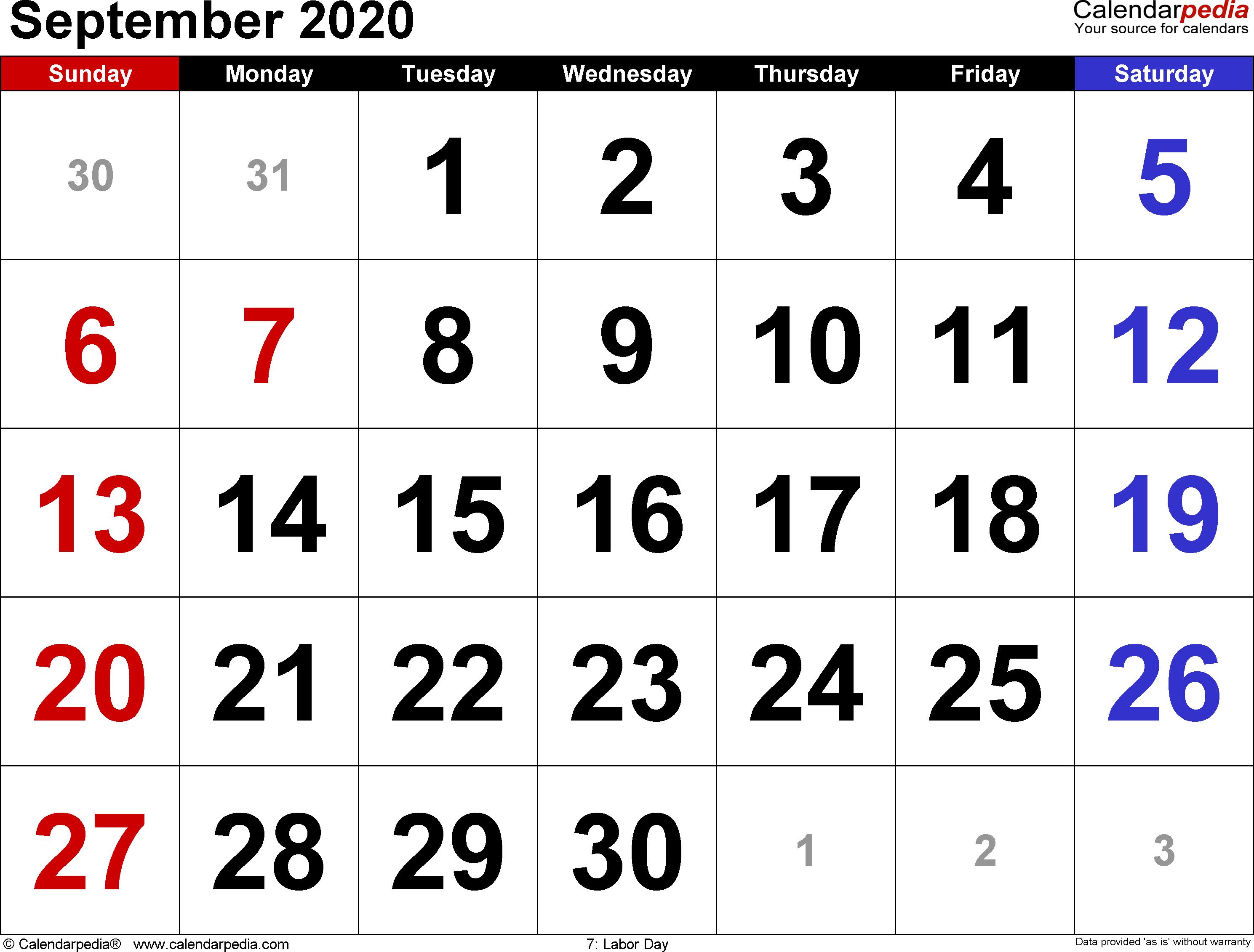 September 2020 Calendars For Word, Excel & Pdf