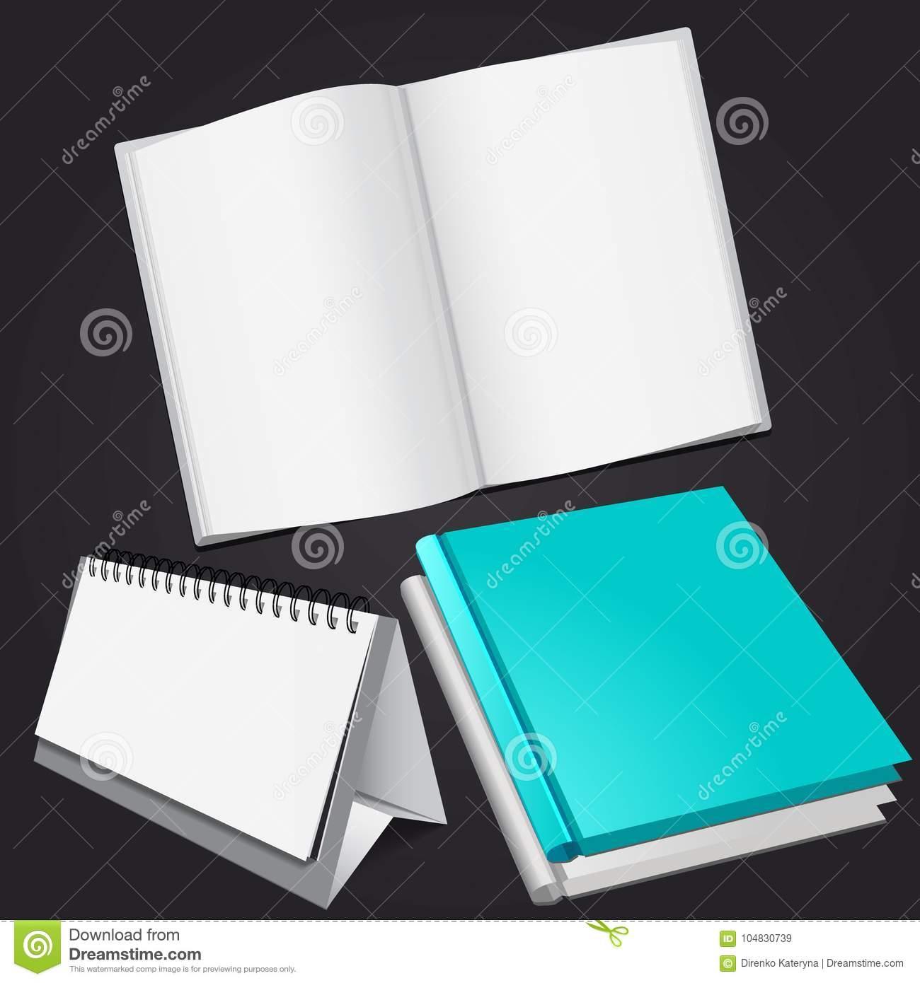 Set Of Blank Magazine, Album Or Book And Desktop Calendar Mockup On