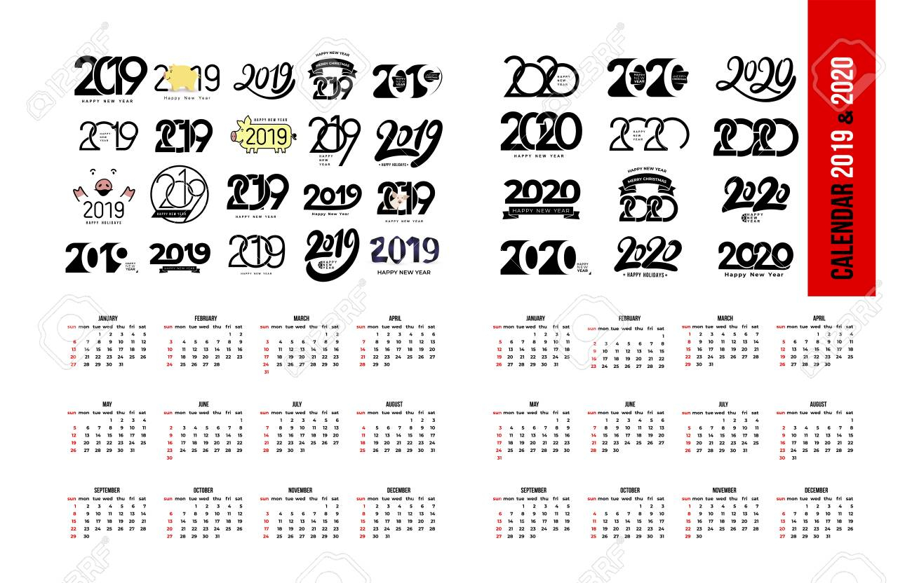 Set Of Calendar 2019 And 2020 Template. Calendar Logo Design